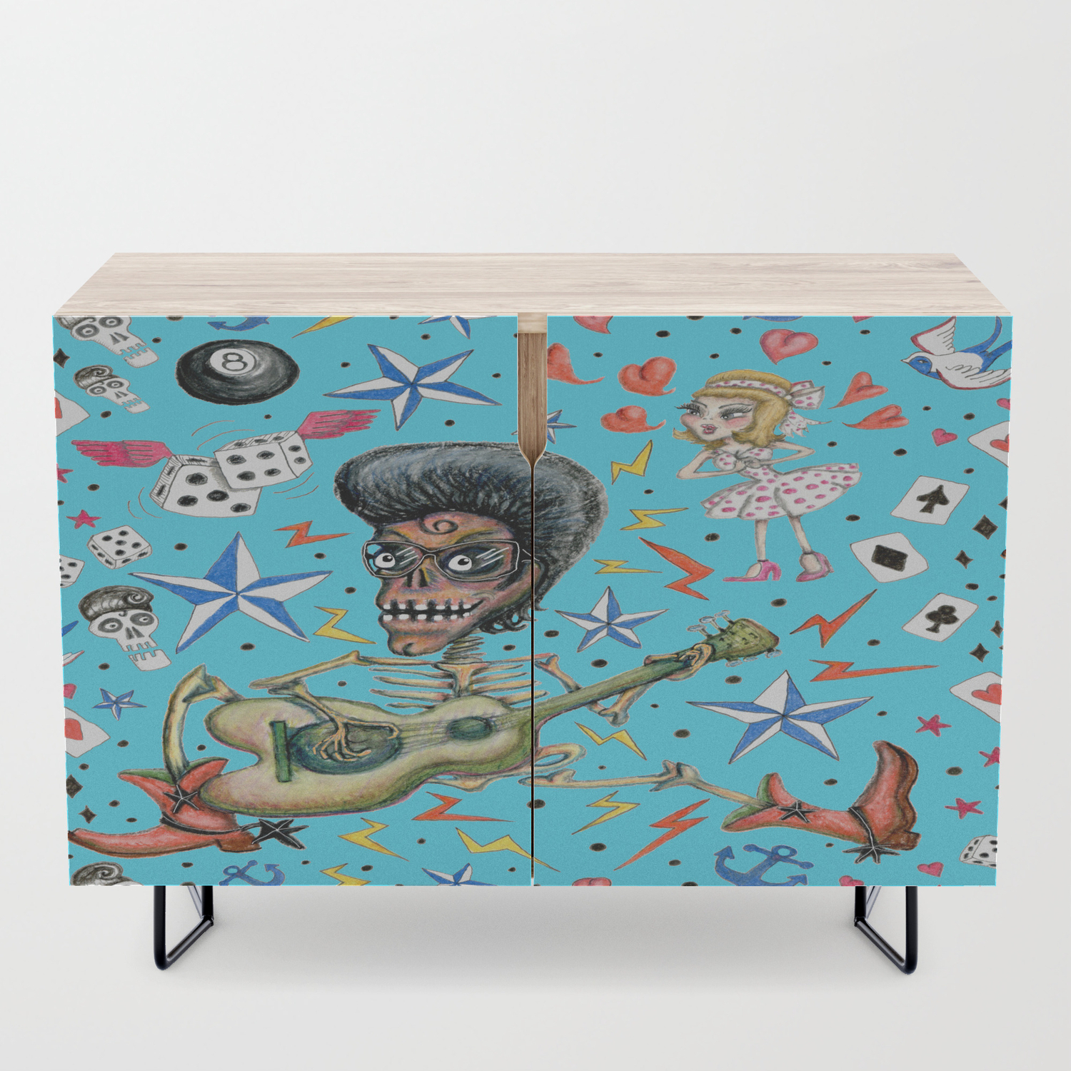 Rockabilly Bone Daddy Crush, Blue Turquoise Aqua Credenza Regarding Turquoise Skies Credenzas (Gallery 16 of 30)