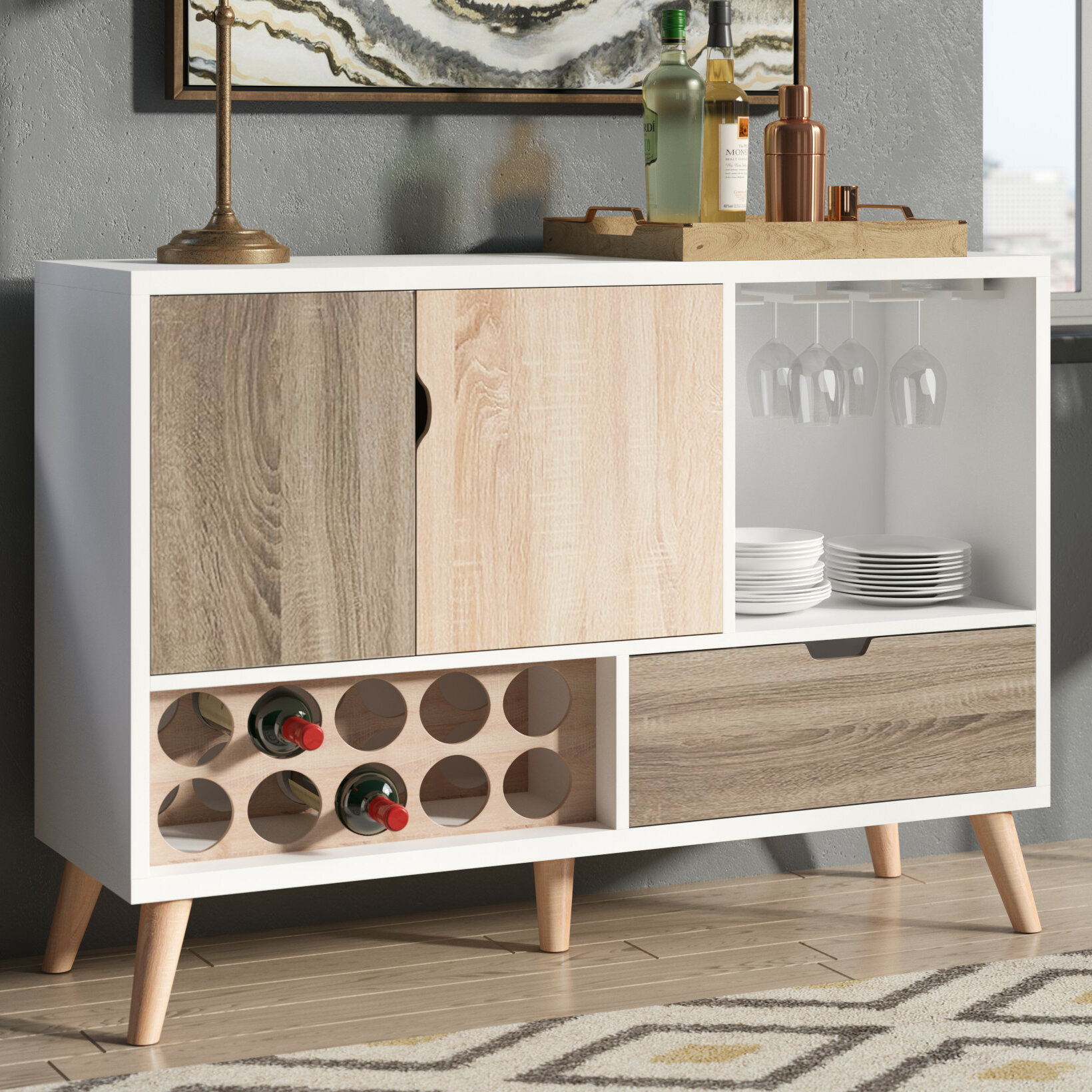 Rogerson Contemporary Server Intended For Contemporary Wooden Buffets With Four Open Compartments And Metal Tapered Legs (Gallery 9 of 30)