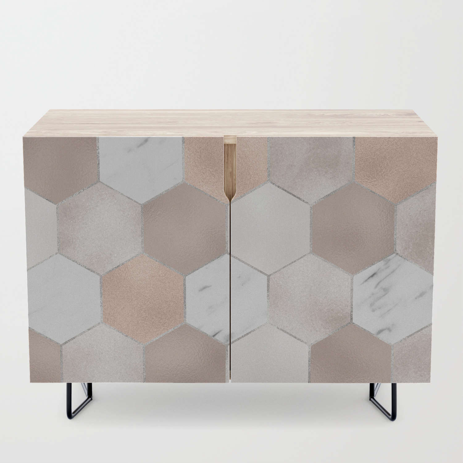 Rose Pearl And Marble Hexagons Credenza Within Exagonal Geometry Credenzas (Gallery 4 of 30)