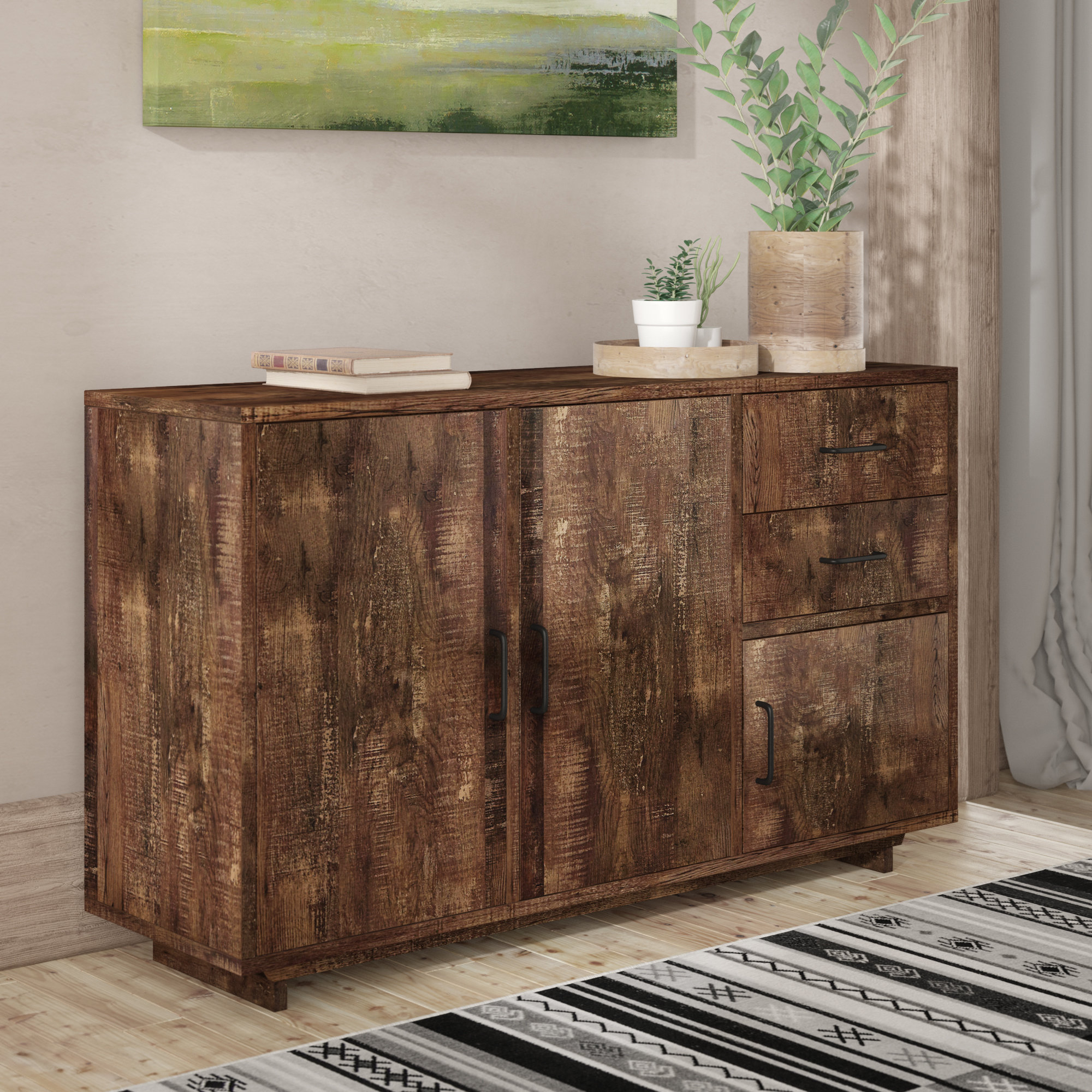 Rustic Hutch And Buffet You'll Love In 2019 | Wayfair In Rustic Walnut Buffets (Photo 7 of 30)