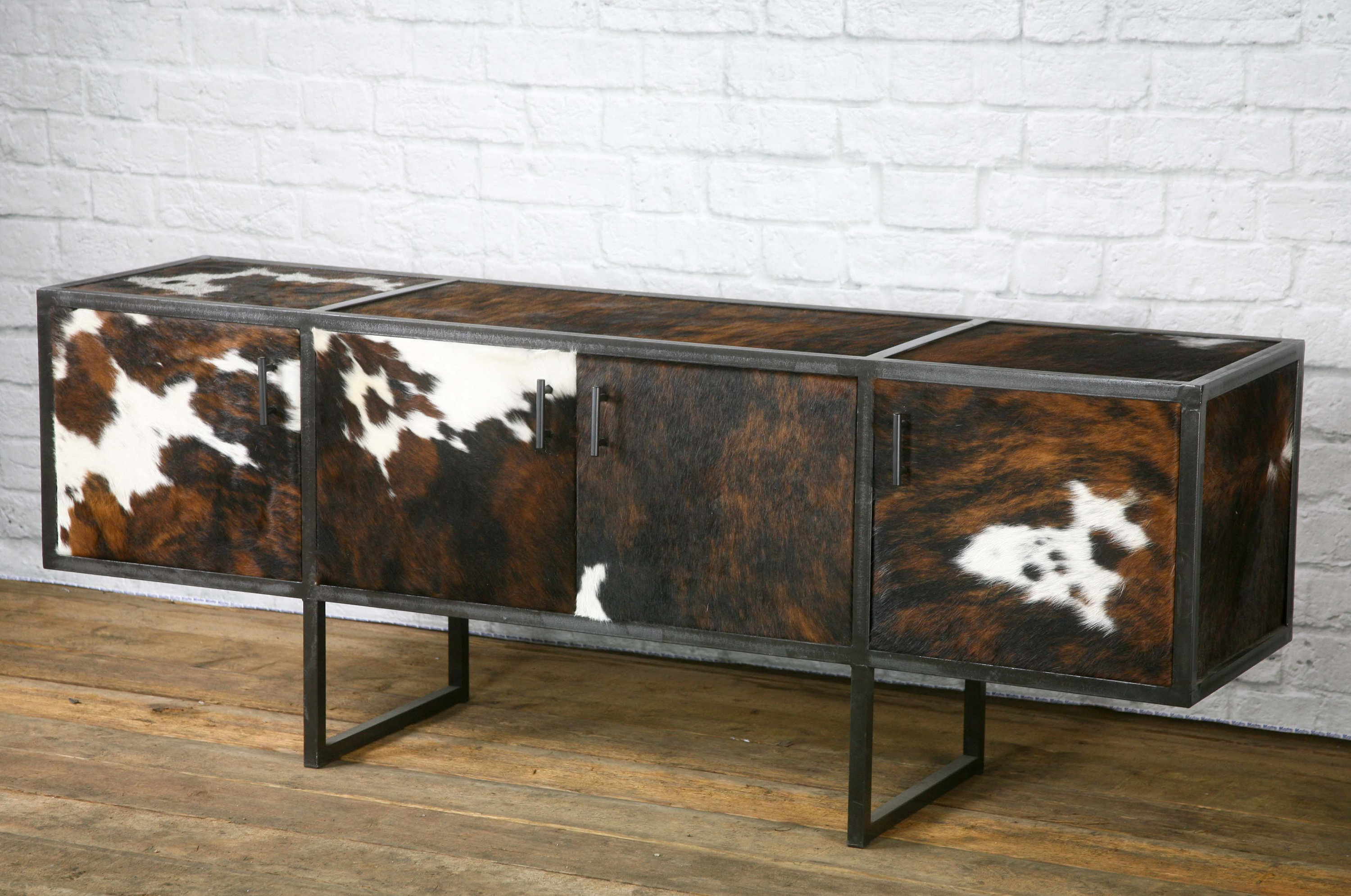 Rustic Media Console, Urban Rustic Side Board, Leather, Rustic Credenza,  Buffet, Cowhide. Modern. Handmade And Custom Sizes Available pertaining to Saucedo Rustic White Buffets (Image 16 of 30)