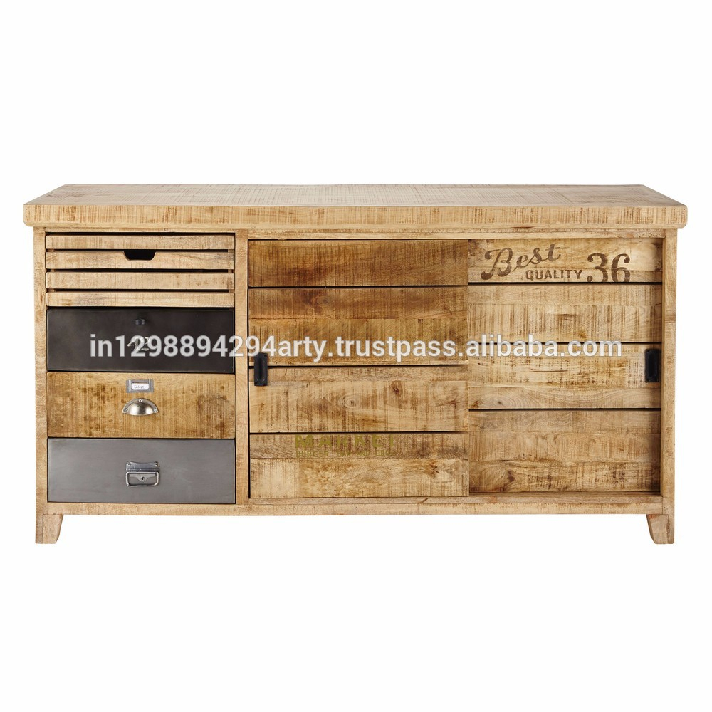 Rustic Vintage Style Wooden Two Sliding Doors Four Drawers Shabby Chic Buffet Sideboard Solid Mango Wood Storage Cabinet – Buy Wood Metal Regarding Contemporary Wooden Buffets With One Side Door Storage Cabinets And Two Drawers (View 8 of 30)