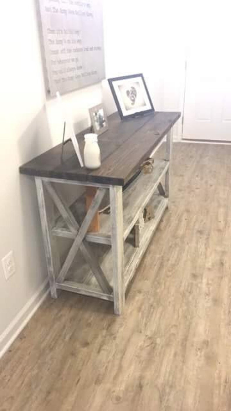 Rustic Wooden Buffet Table, Rustic Console Table, Farmhouse Buffet Table,  White Wash With White Distressed Base And Dark Walnut Top in Rustic Walnut Dining Buffets (Image 26 of 30)