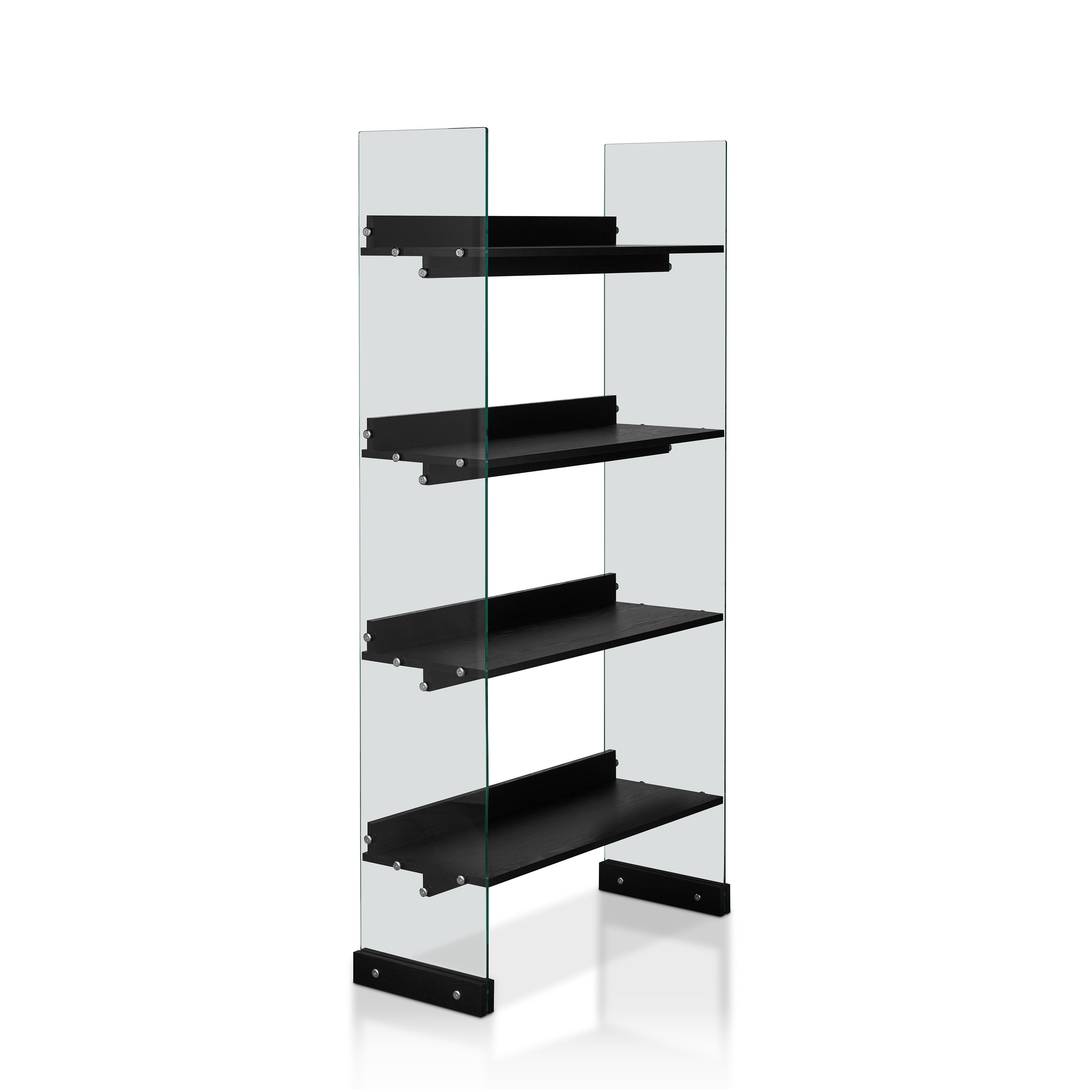 Samsel Modern Black 4 Tier Glass Frame Bookcasefoa For Contemporary Three Tier Glass Buffets With Black Metal Frame (View 24 of 30)