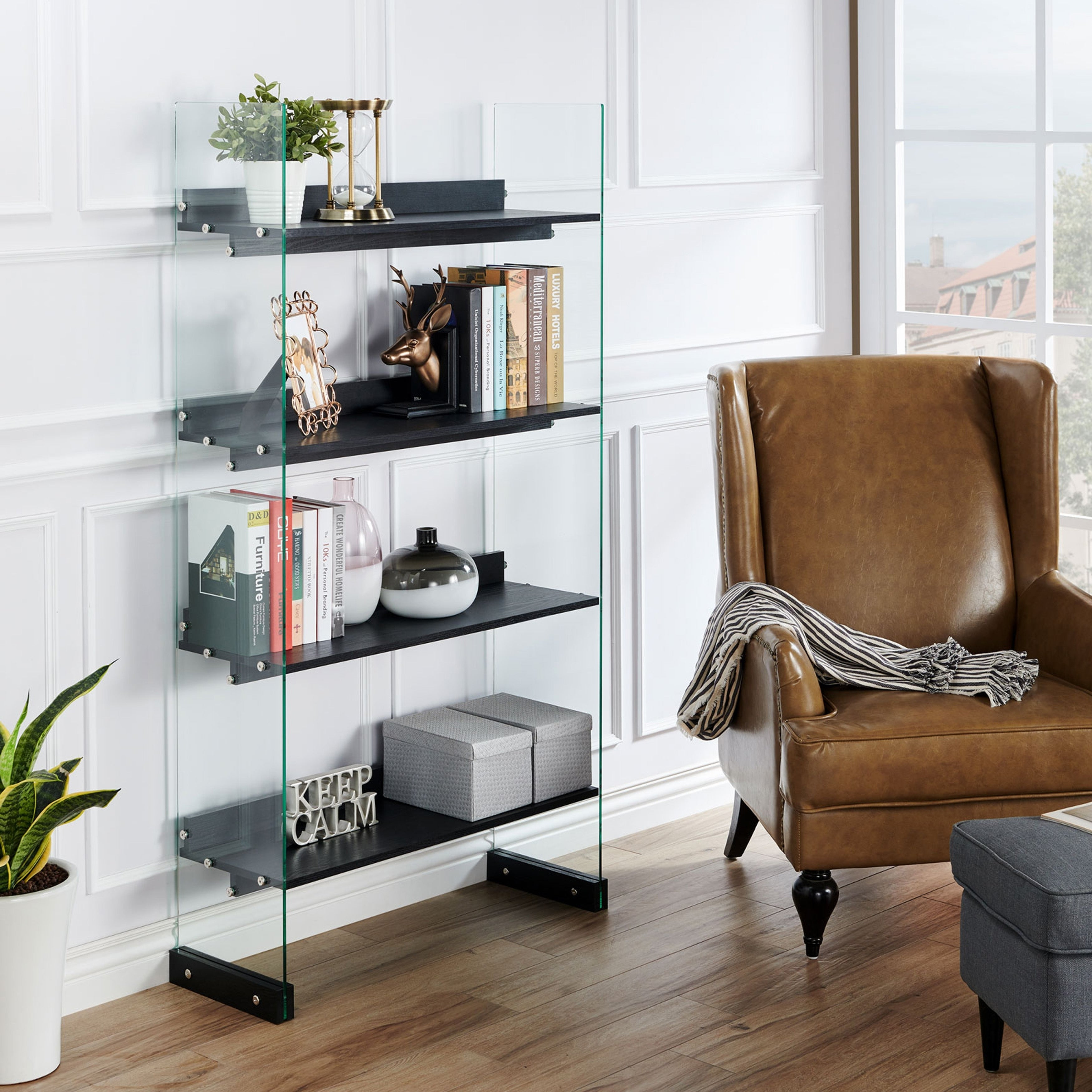 Samsel Modern Black 4 Tier Glass Frame Bookcasefoa Regarding Contemporary Three Tier Glass Buffets With Black Metal Frame (View 25 of 30)