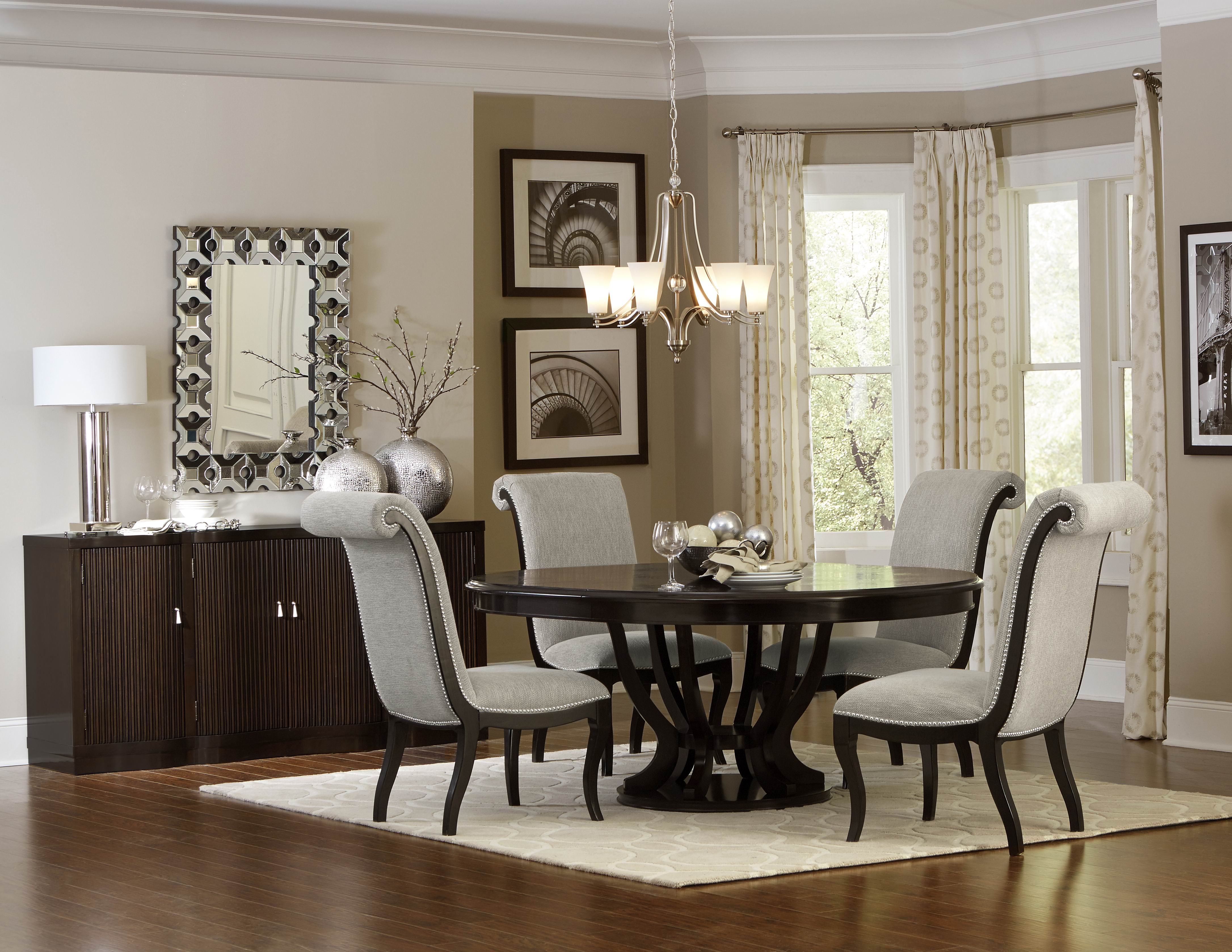 Savion Collection Contemporary Style Espresso & Natural Tone 5 Pc Oval Design Dining Table Set Inside Contemporary Espresso Dining Buffets (View 29 of 30)