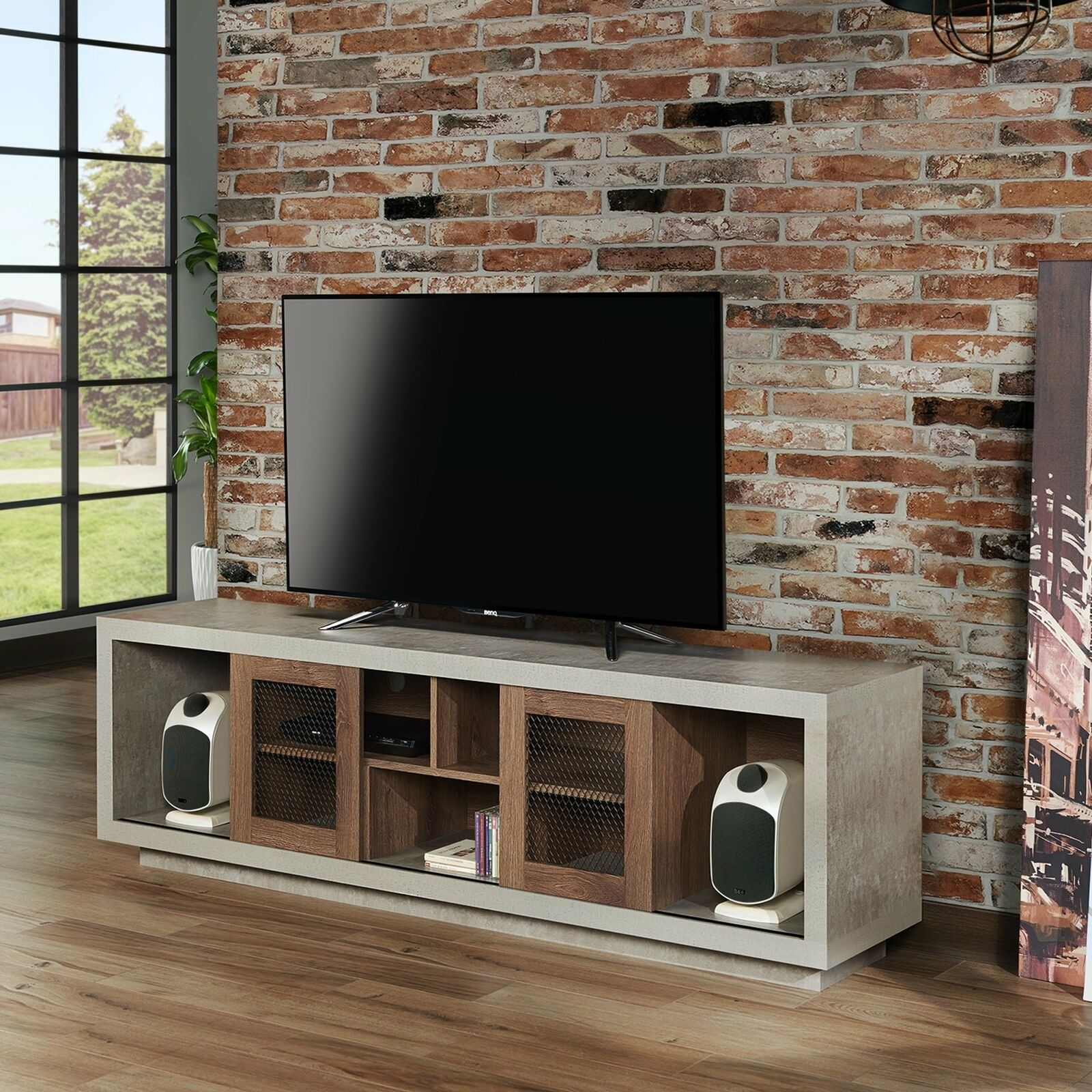 Selefin Industrial 71-Inch Cement-Like Multi-Storage Tv with Industrial Cement-Like Buffets (Image 29 of 30)