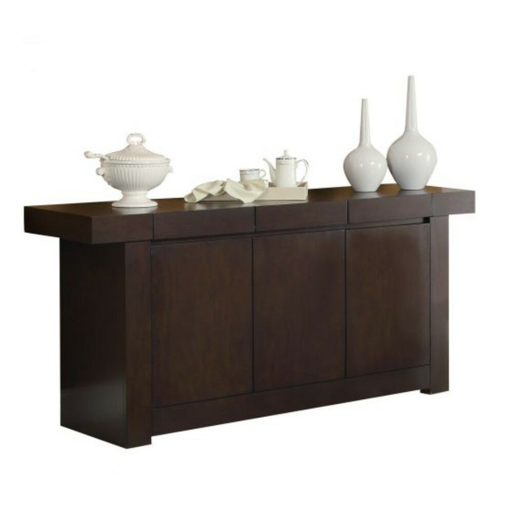 Sepanek Wooden Dining Sideboard for Solid and Composite Wood Buffets in Cappuccino Finish (Image 15 of 30)