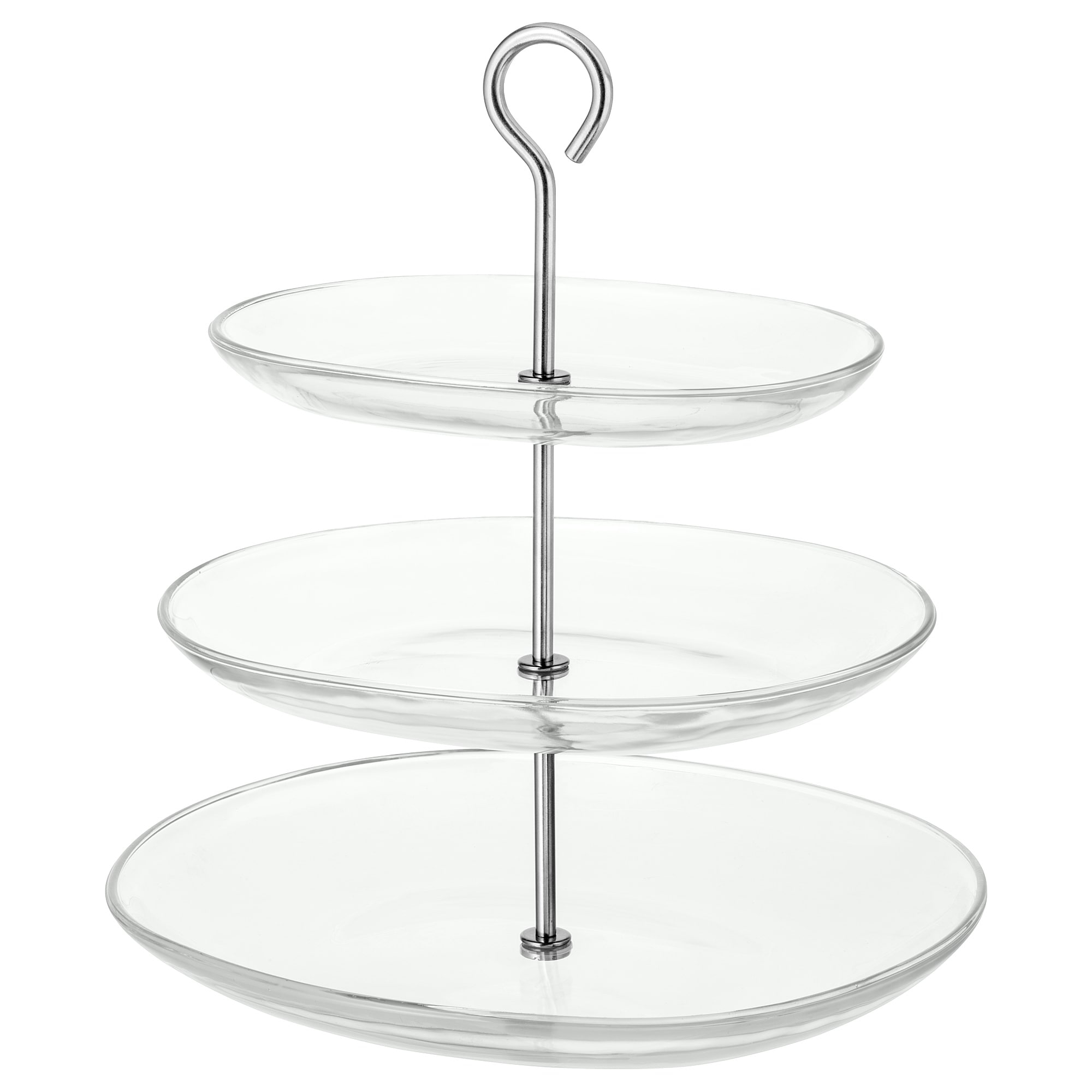Serving Stand, Three Tiers Kvittera Clear Glass, Stainless Steel Throughout Contemporary Three Tier Glass Buffets With Black Metal Frame (View 26 of 30)