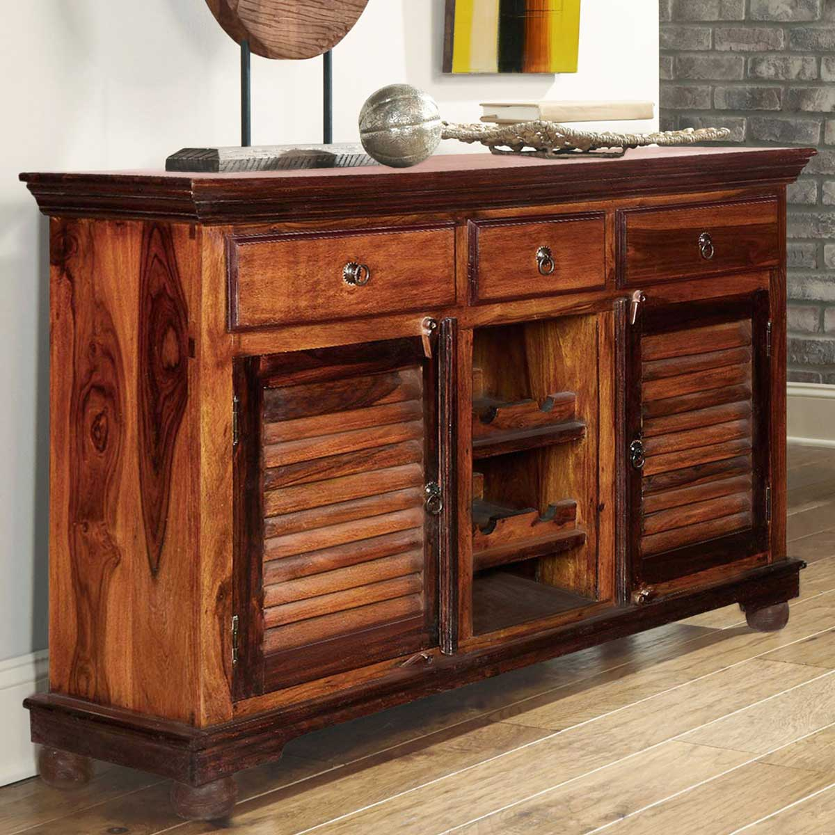 Shaker Rustic Solid Wood 3 Drawer Wine Bar Sideboard Cabinet regarding 3-Drawer Storage Buffets (Image 24 of 30)