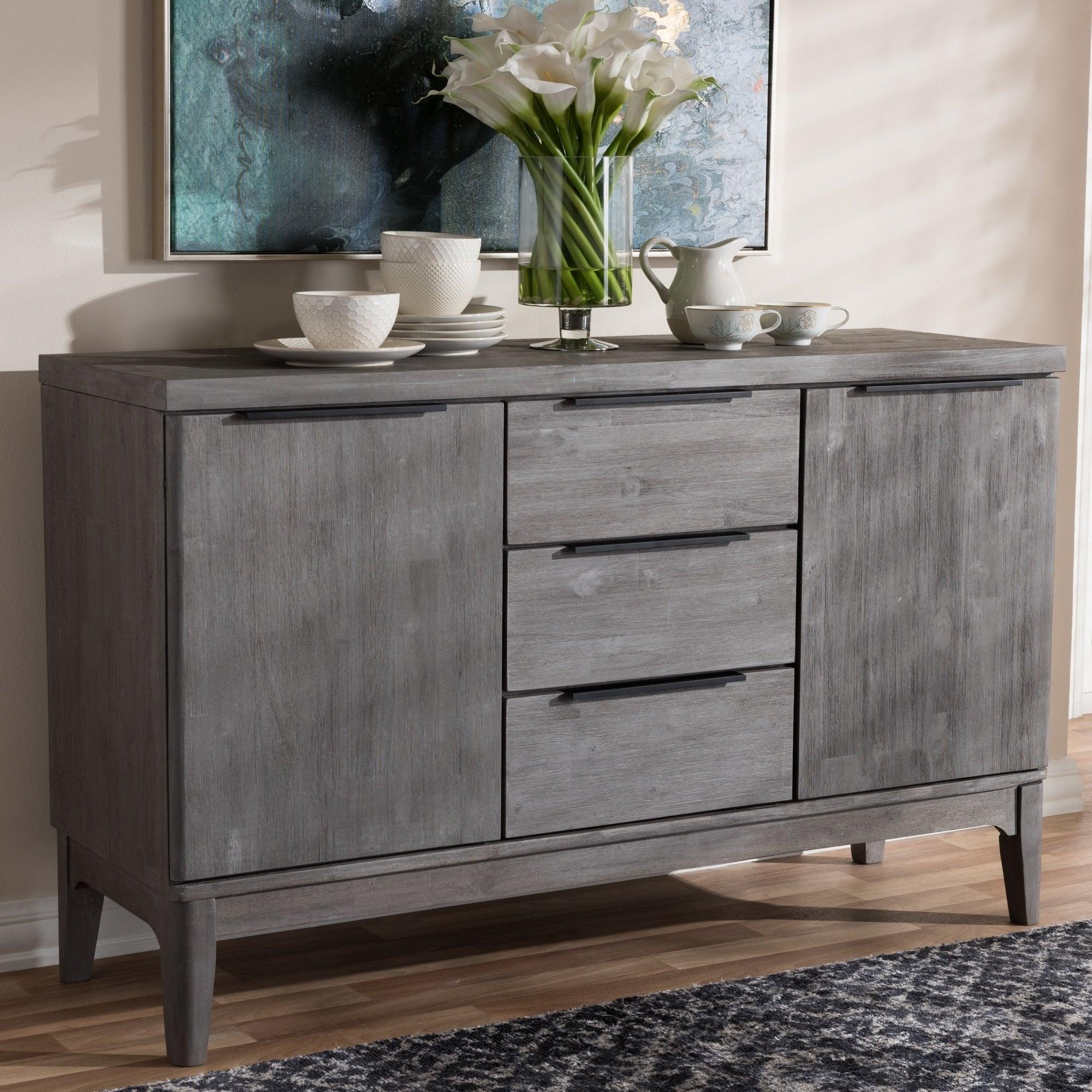 Shop Rustic Platinum Grey 3-Drawer Sideboard Buffet regarding 3-Drawer Titanium Buffets (Image 27 of 30)