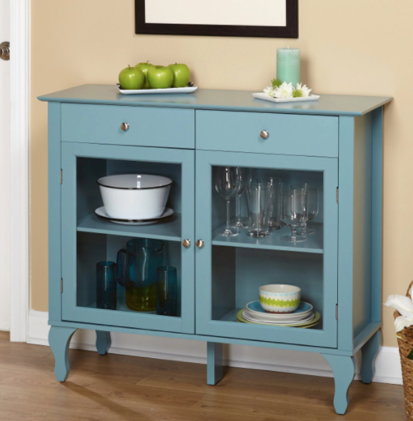 Sideboard Buffet Kitchen Cabinet Glass Door Shelve Drawer Teal Country Blue Chic Regarding Simple Living Layla Black Buffets (View 9 of 30)