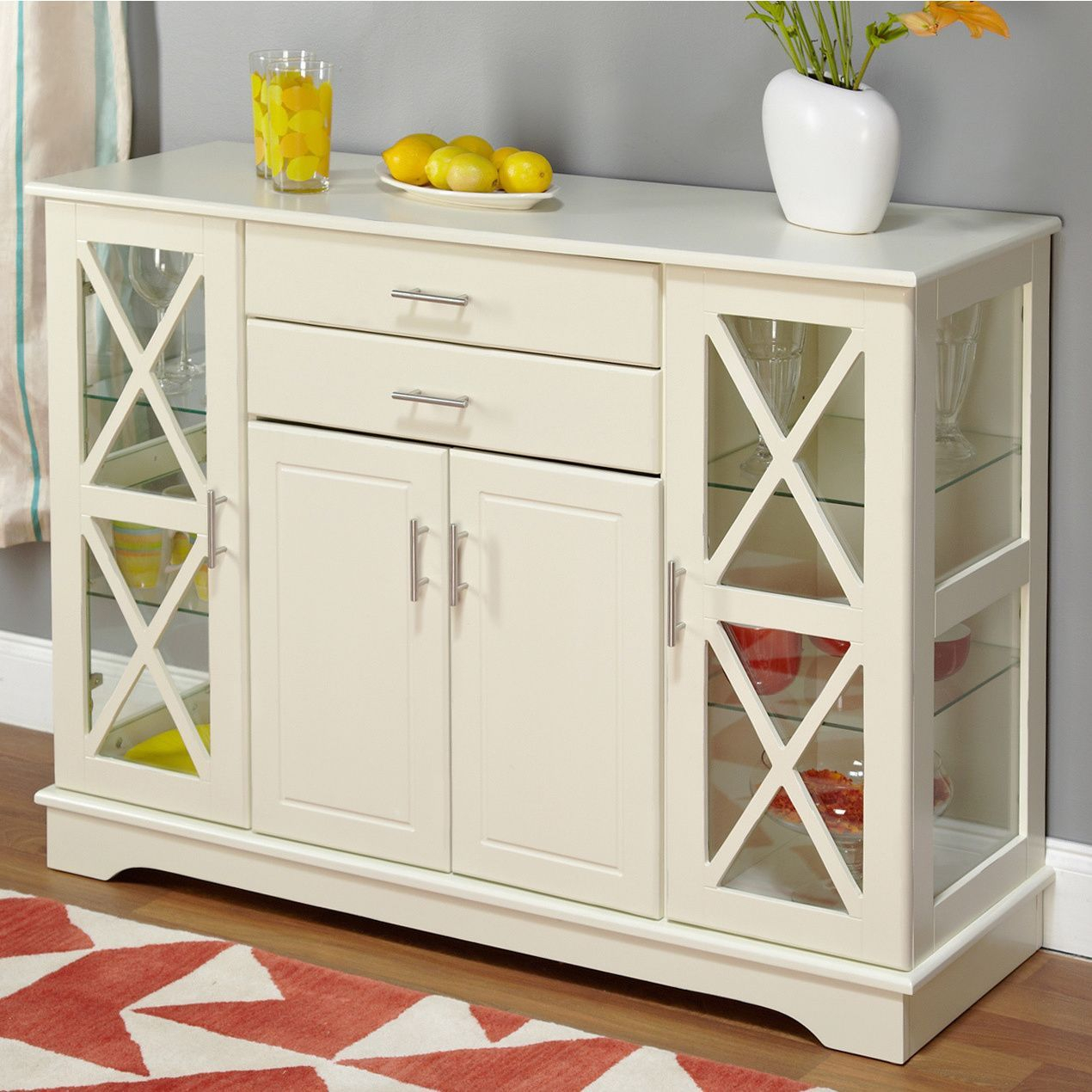Simple Living Antique White Kendall Buffet | ❤dining Room In Kendall Sideboards (View 8 of 30)