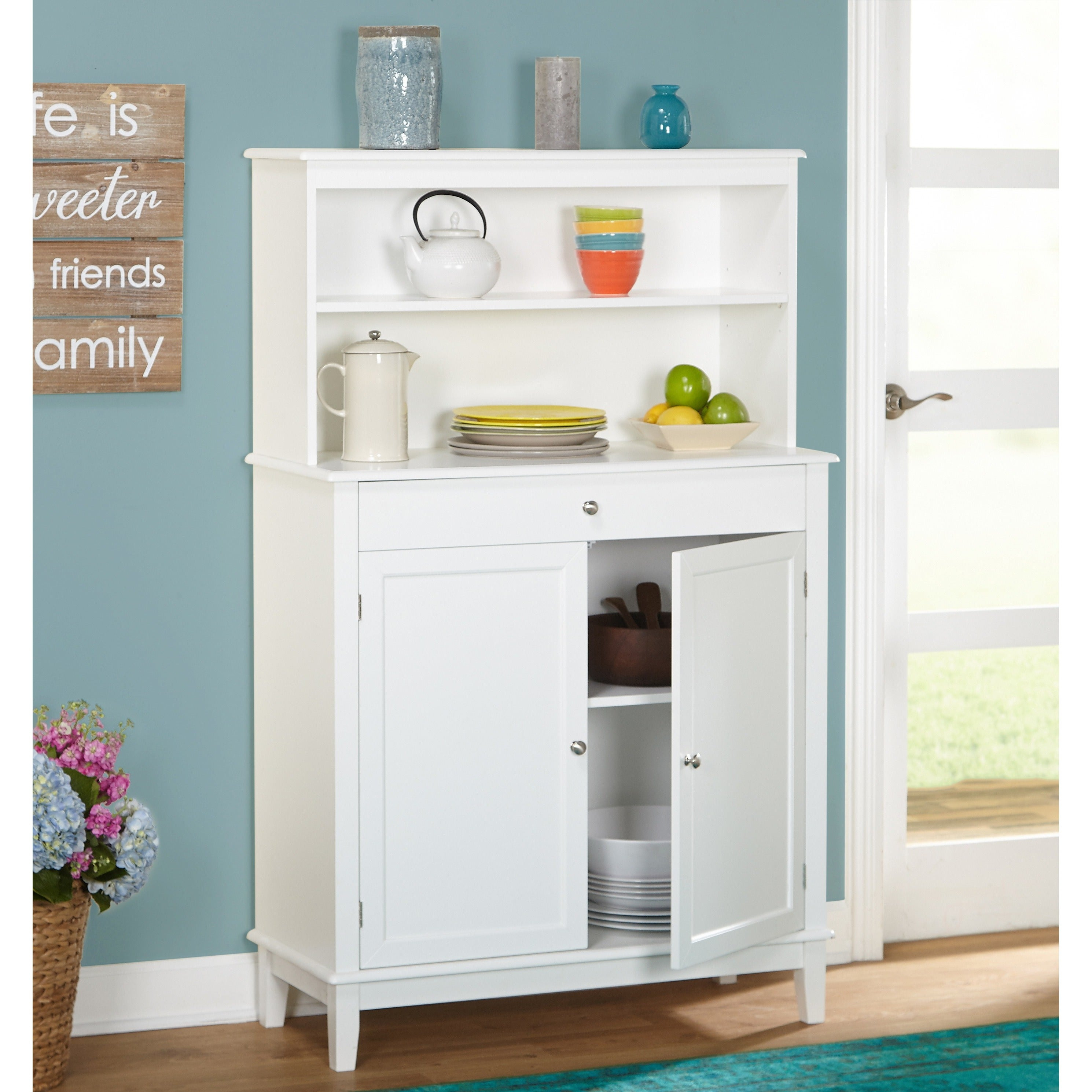 Simple Living Farmhouse Buffet With Hutch Throughout Simple Living Montego Two Door Buffets (View 16 of 30)