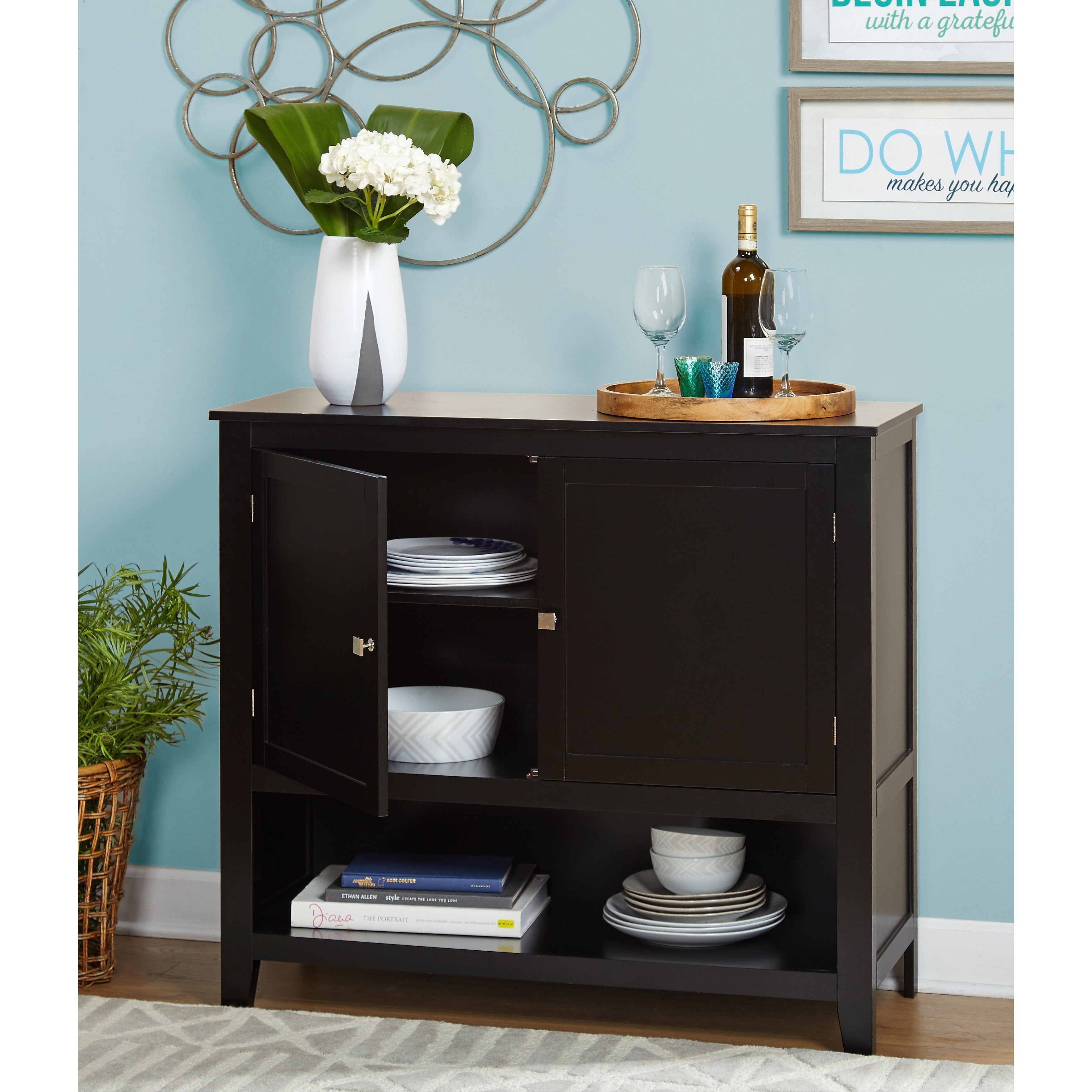 Simple Living Montego Black Wooden Buffet For Simple Living Montego Two Door Buffets (View 19 of 30)