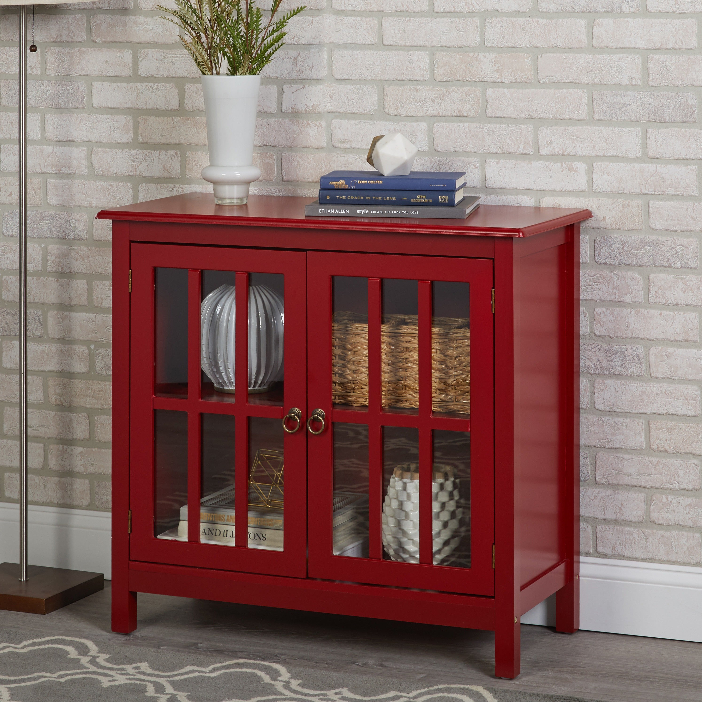 Simple Living Portland Glass Door Cabinet Pertaining To Simple Living Red Montego Buffets (View 21 of 30)