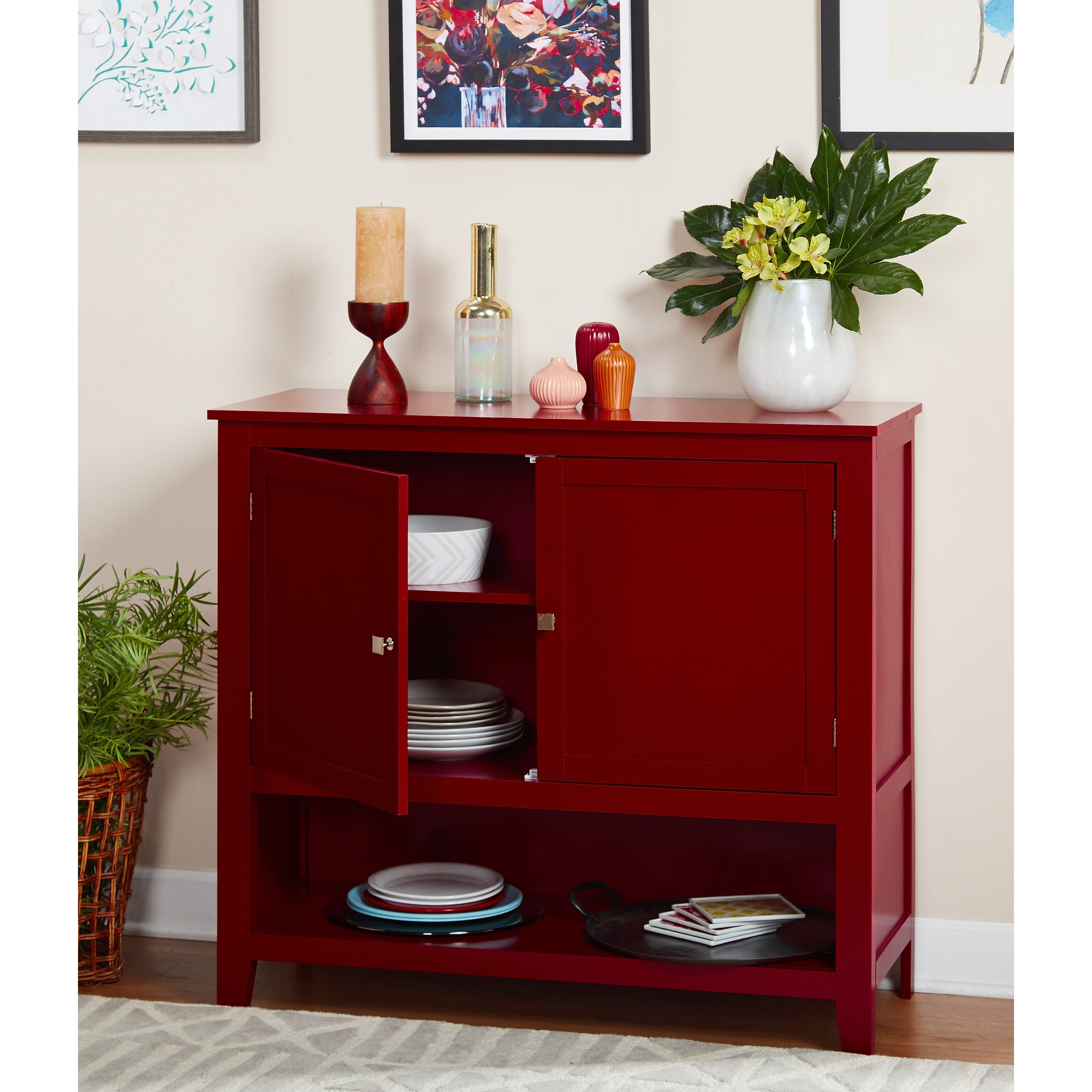 Simple Living Red Montego Buffet For Simple Living Montego Two Door Buffets (View 22 of 30)