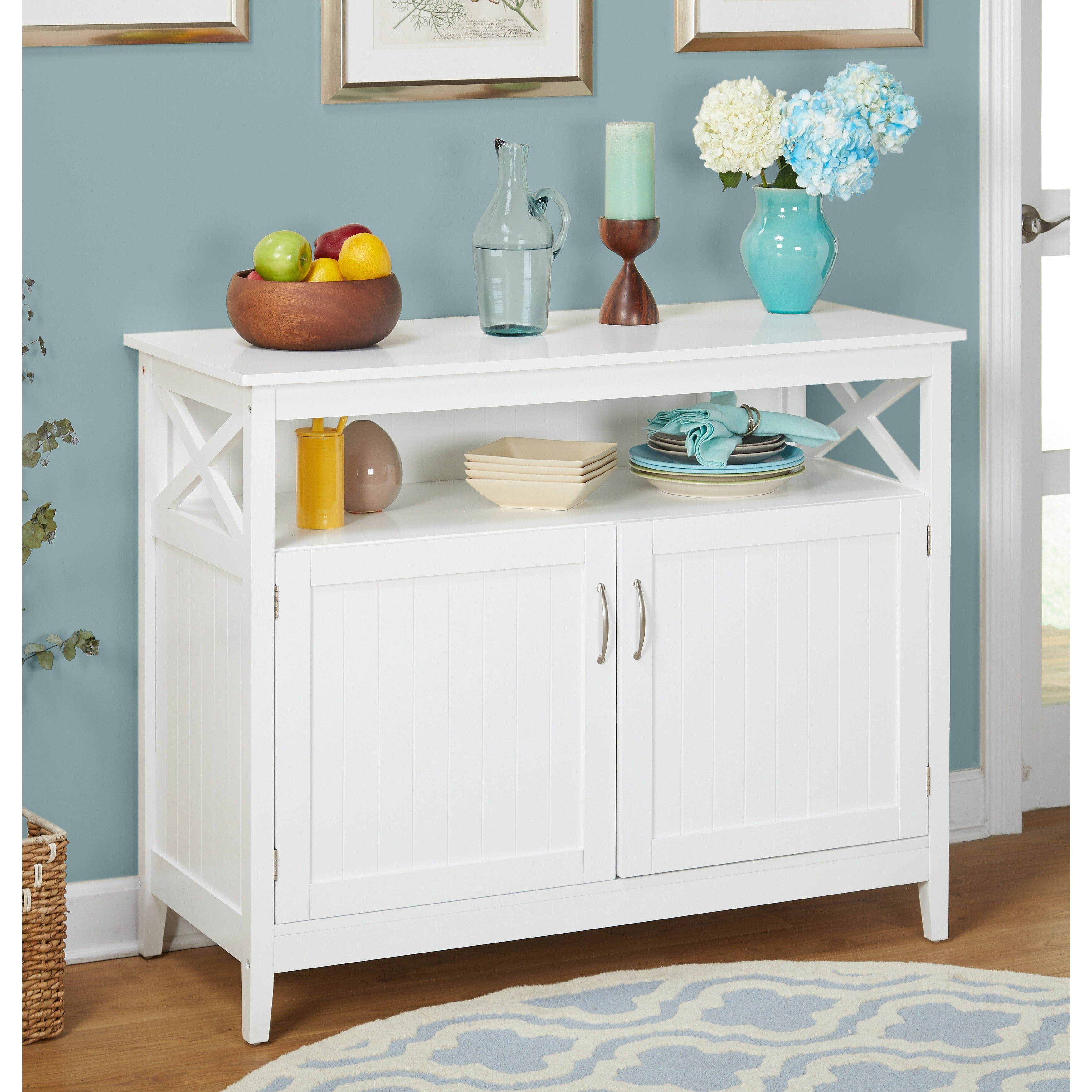 Simple Living Southport White Beadboard Buffet | Overstock Shopping – The Best Deals On Buffets In Simple Living Southport Dining Buffets (View 23 of 30)