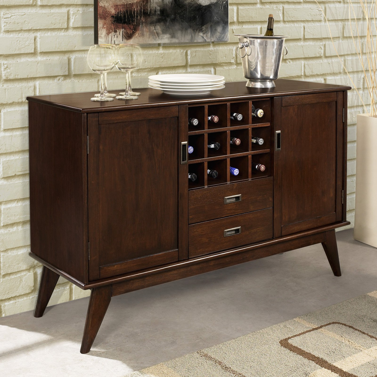 Simpli Home Draper Sideboard Buffet And Winerack | Products With Simple Living Red Montego Buffets (View 26 of 30)
