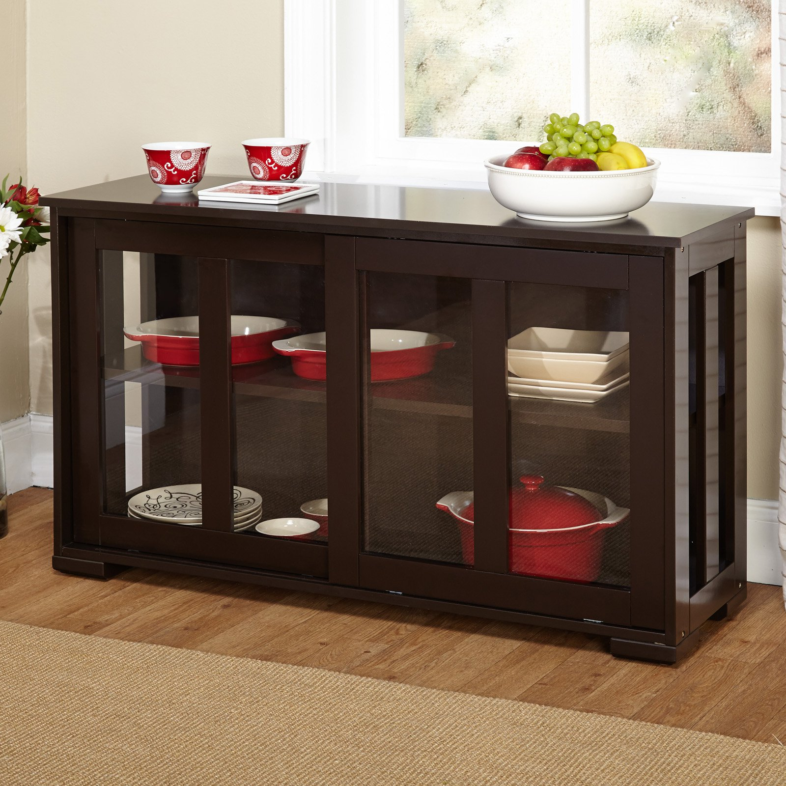 Sliding Tempered Glass Doors Stackable Storage Cabinet, Multiple Colors Within Espresso Sliding Door Stackable Buffets (View 4 of 30)