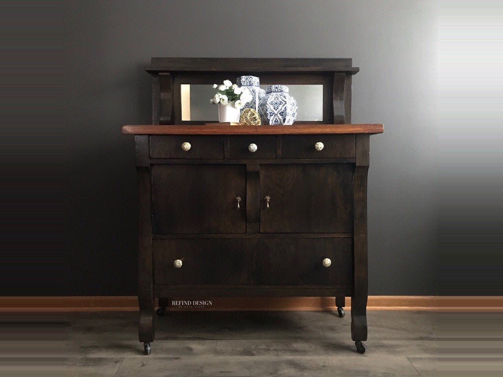 Sold  Antique Traditional Empire Buffet, Modern Black Sideboard, Solid Wood  Cabinet, Dining Room Storage, Living Room, Kitchen, Entryway In Modern Black Storage Buffets (View 22 of 30)