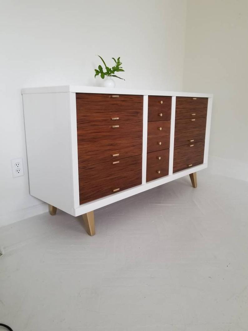 Sold ##lovely Mid Century Modern Dresser Credenza, White, Walnut And Brass Credenza, 9 Drawer Dresser, #scandi #glam Painted Dresser Nj Nyc Pertaining To Lovely Floral Credenzas (View 22 of 30)