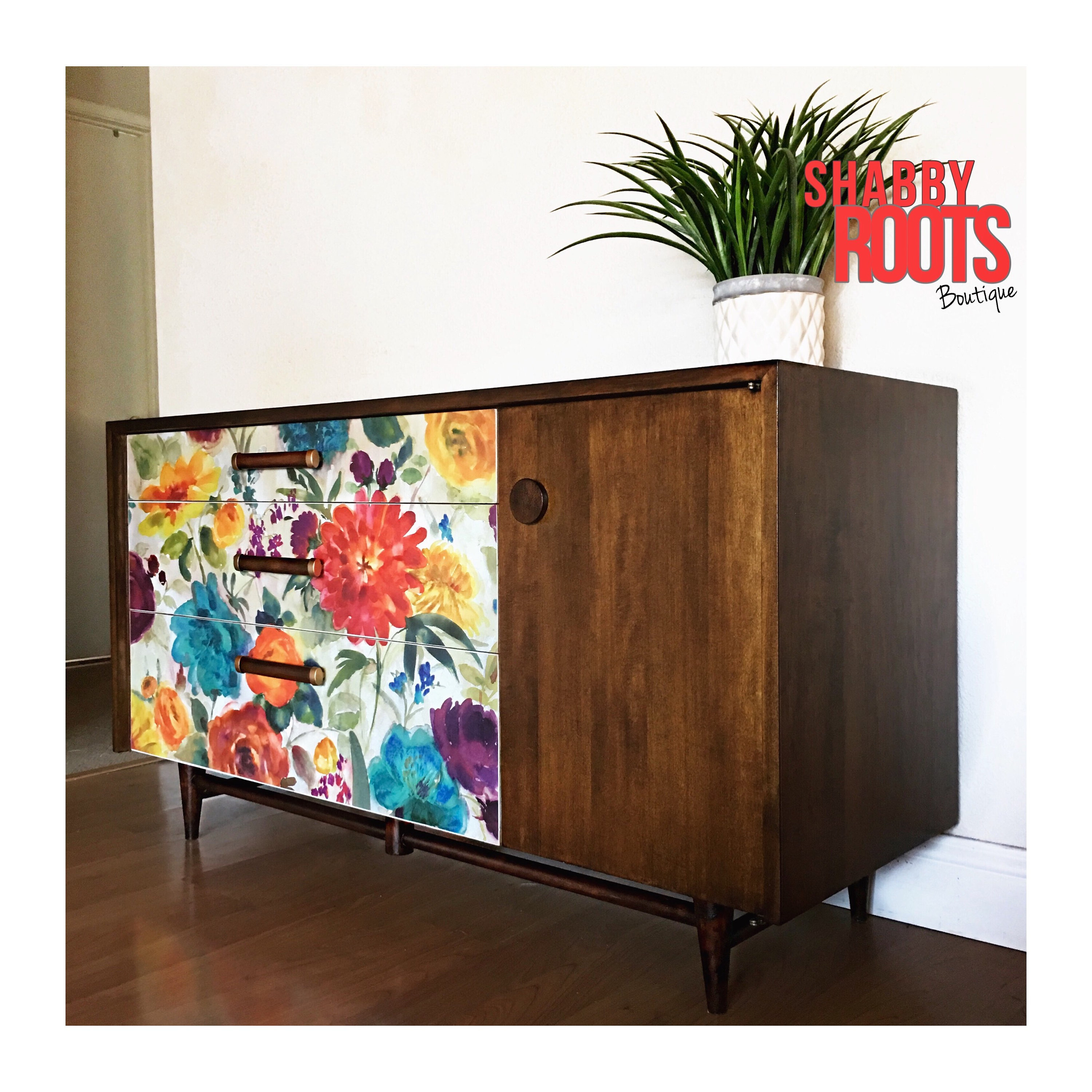 Sold Mid Century Modern Low Credenza Dresser,buffet Cabinet, Sideboard. Vintage Walnut And Floral Re Design (View 11 of 30)