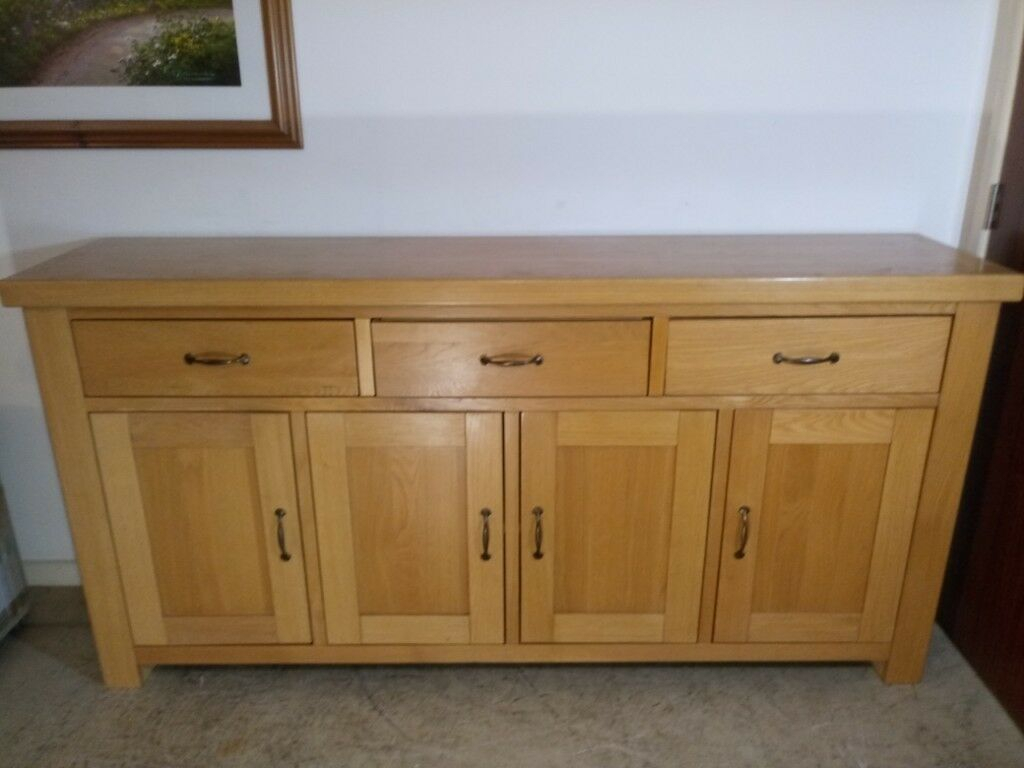 Solid Oak Large Sideboard Wood Cupboard Storage Cabinet 4 Door 3 Drawers  Buffet | In Winchester, Hampshire | Gumtree with 3-Drawer Storage Buffets (Image 25 of 30)