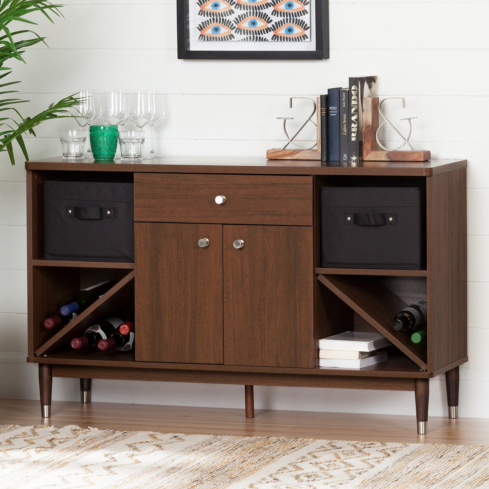 South Shore Olly Mid-Century Modern Sideboard Storage Cabinet, Brown Walnut with Mid-Century Brown and Grey Sideboards (Image 26 of 30)