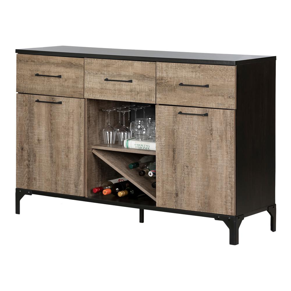 South Shore Valet Weathered Oak And Ebony Buffet 10710 - The pertaining to Solid and Composite Wood Buffets in Cappuccino Finish (Image 18 of 30)