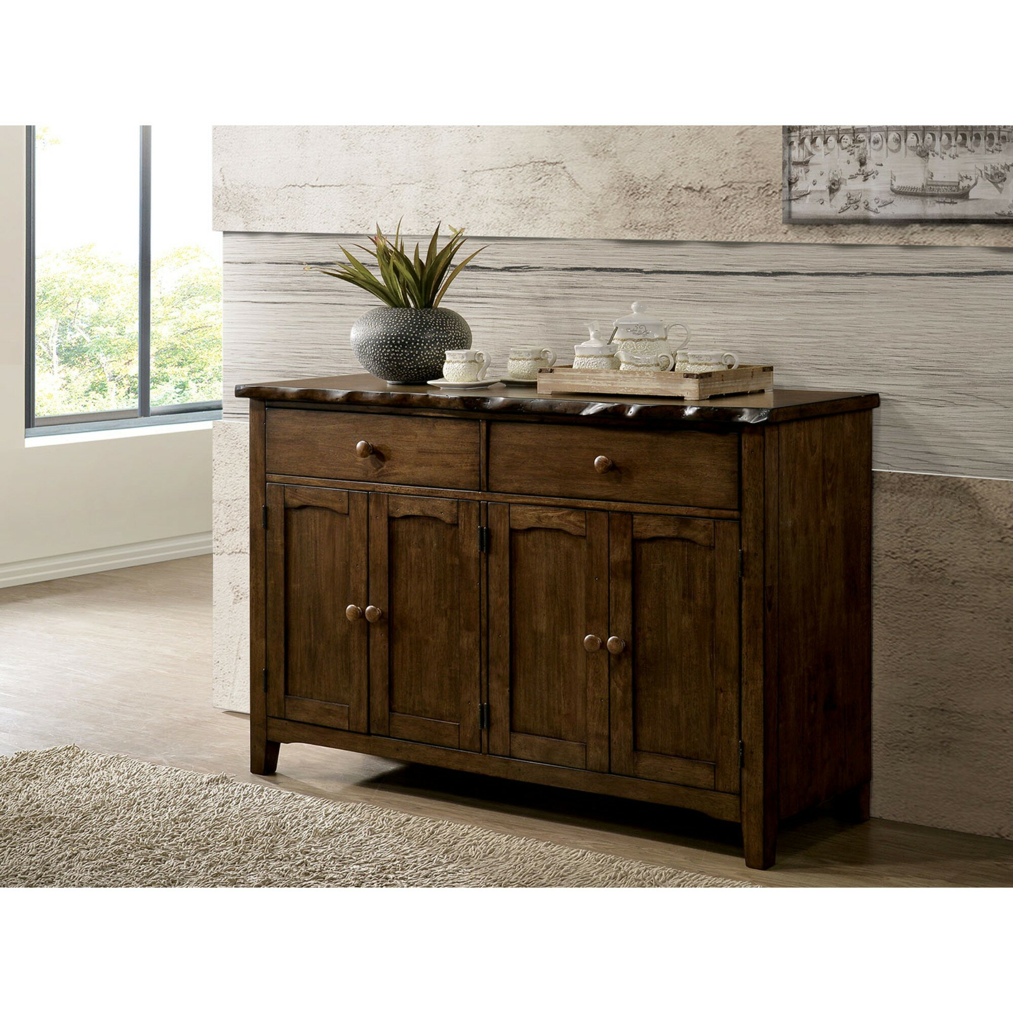 Sprowston Rustic Solid Wood Rectangular Sideboard with Whitten Sideboards (Image 24 of 30)