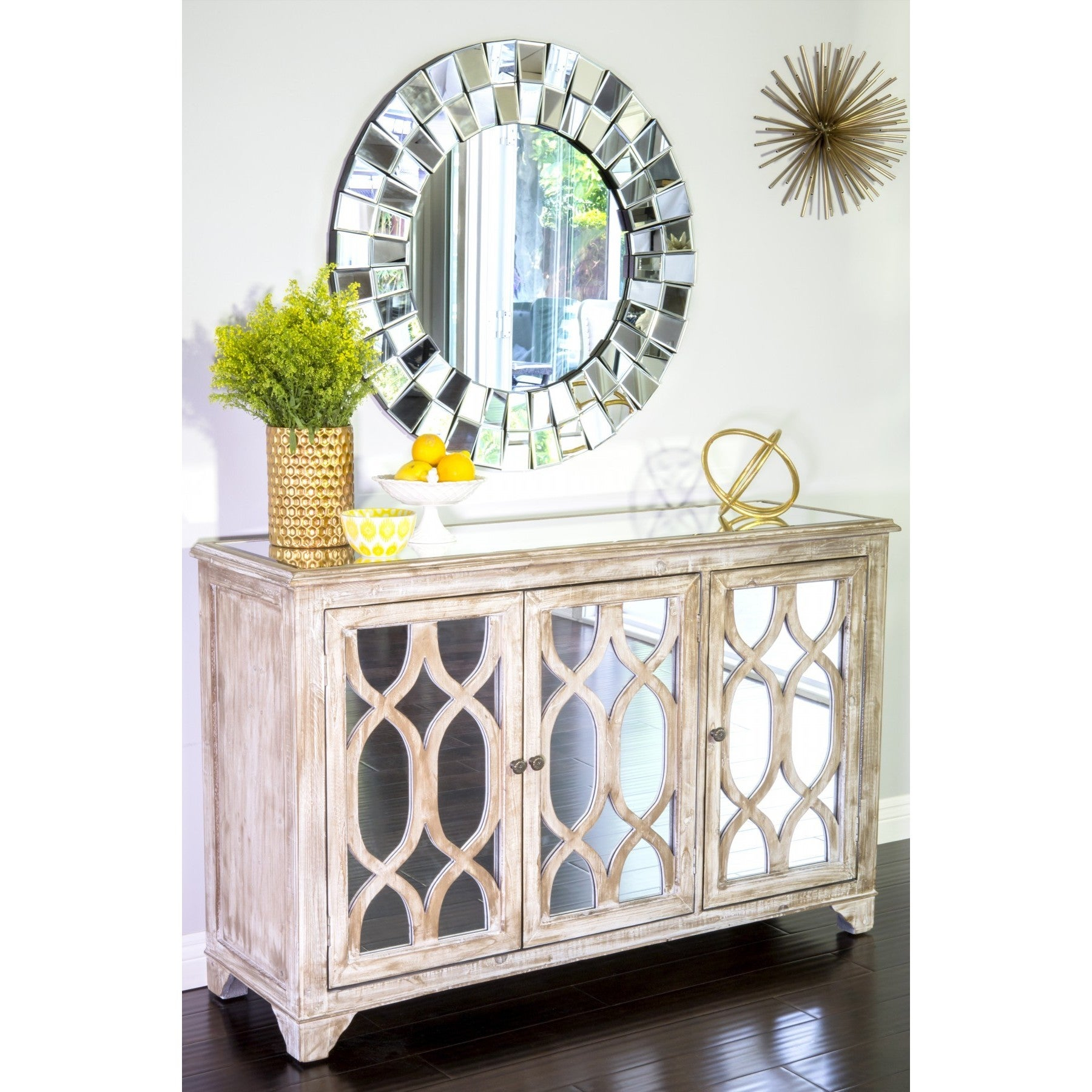 Statementsj Hannah Glass Buffet Console W/ 3 Doors, 32.5 Inch Tall in 3-Piece Mirrored Buffets (Image 24 of 30)