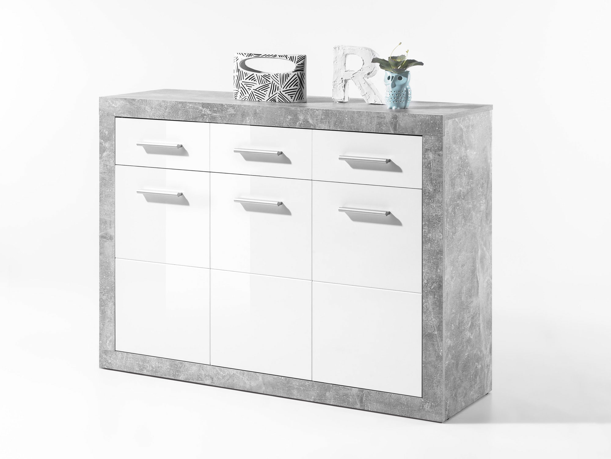 Stella Ii Kommode, Material Dekorspanplatte, Betongrau/weiss In Stella Sideboards (View 23 of 30)