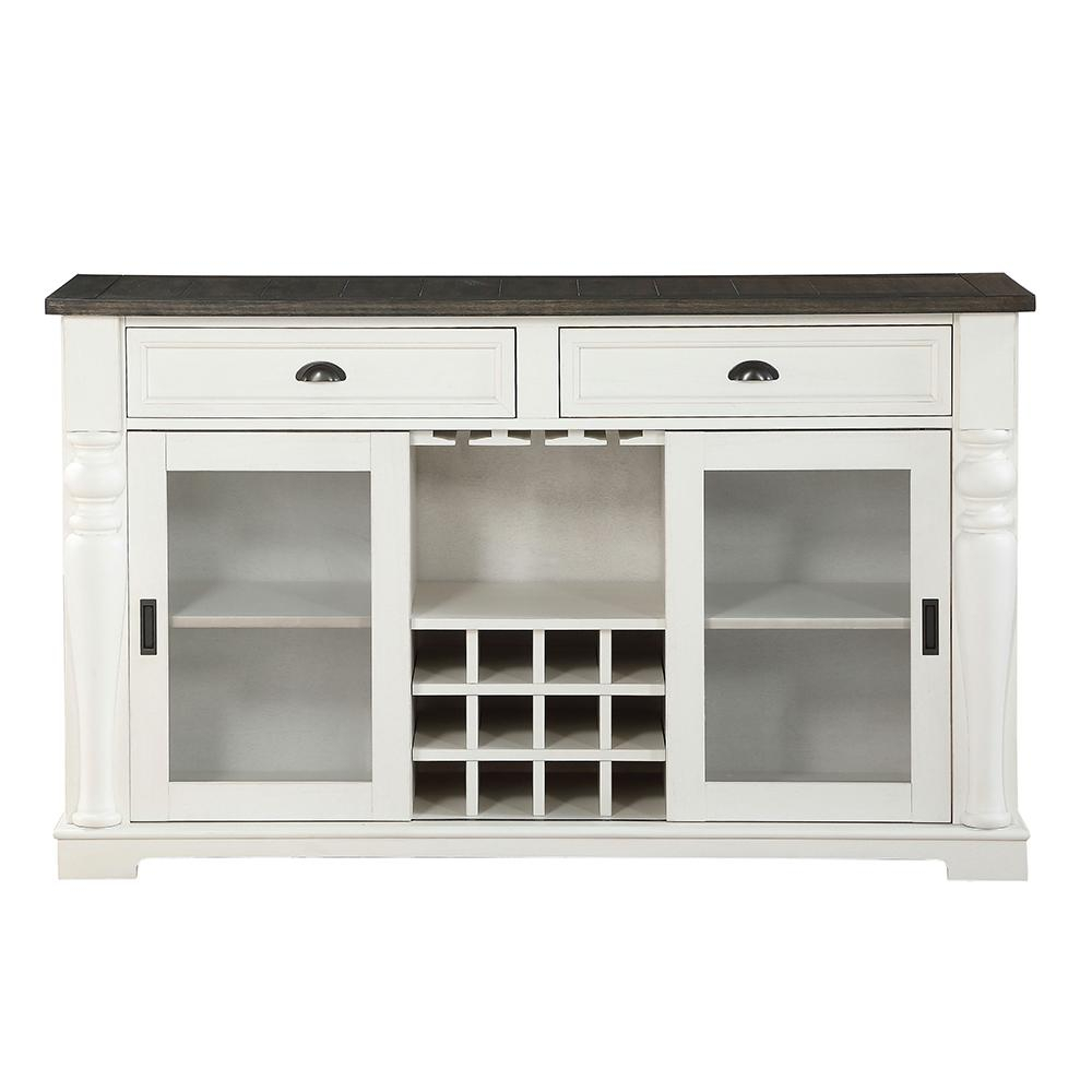 Steve Silver Joanna Two Tone Farmhouse Server With Glass Throughout Contemporary Three Tier Glass Buffets With Black Metal Frame (View 29 of 30)