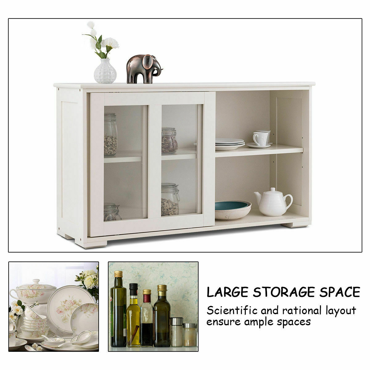 Storage Cabinet Sideboard Buffet Cupboard Glass Sliding Door Pantry Kitchen New Intended For Espresso Sliding Door Stackable Buffets (View 7 of 30)