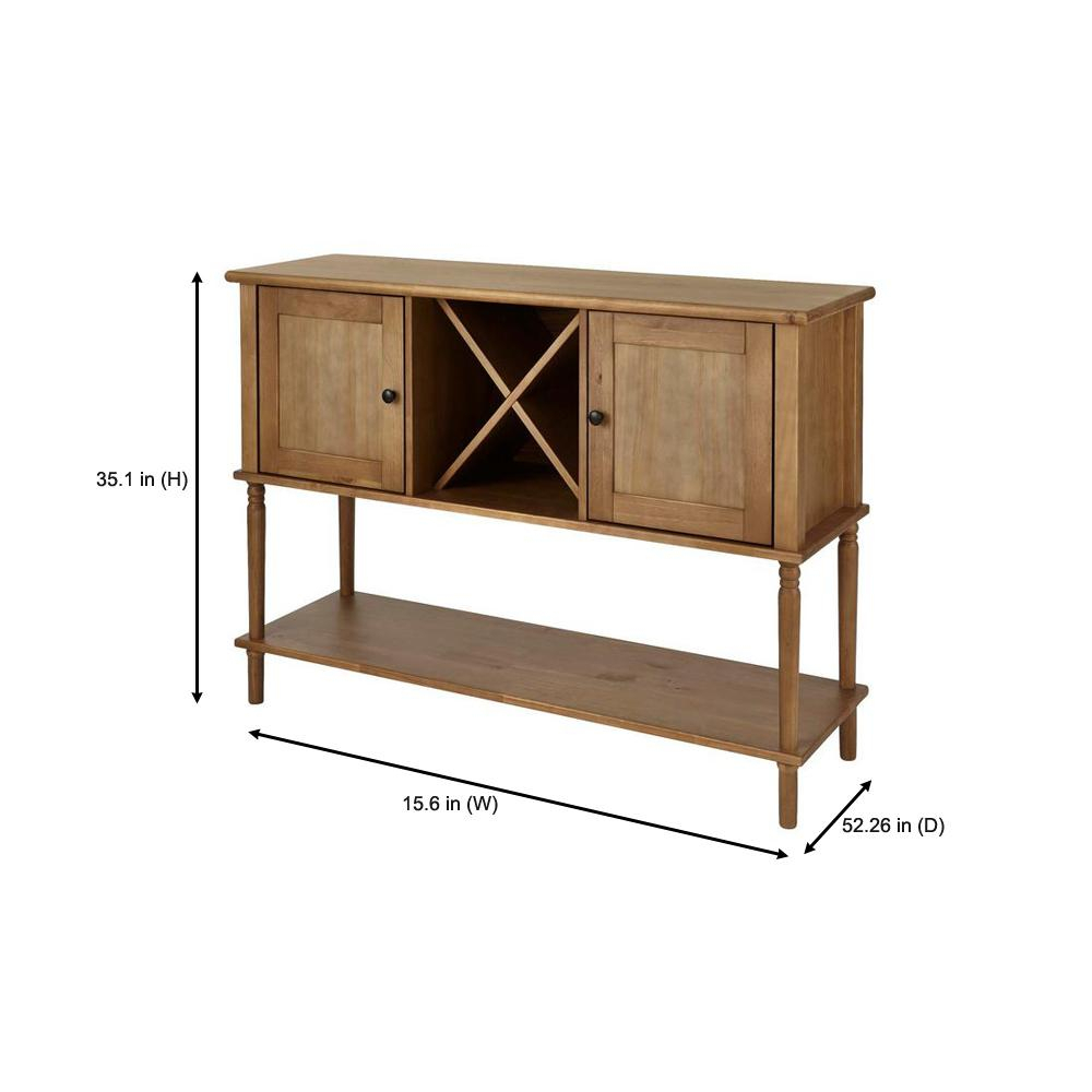 Stylewell Stylewell Patina Oak Finish Wood Buffet Table With Pertaining To Contemporary Wooden Buffets With Four Open Compartments And Metal Tapered Legs (View 27 of 30)