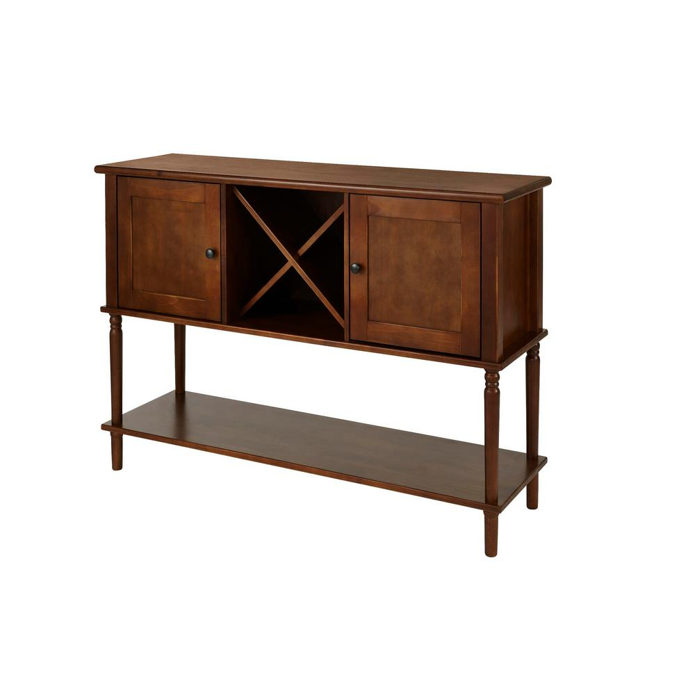Stylewell Stylewell Walnut Finish Buffet Table With Storage regarding Solid And Composite Wood Buffets In Cappuccino Finish (Image 19 of 30)