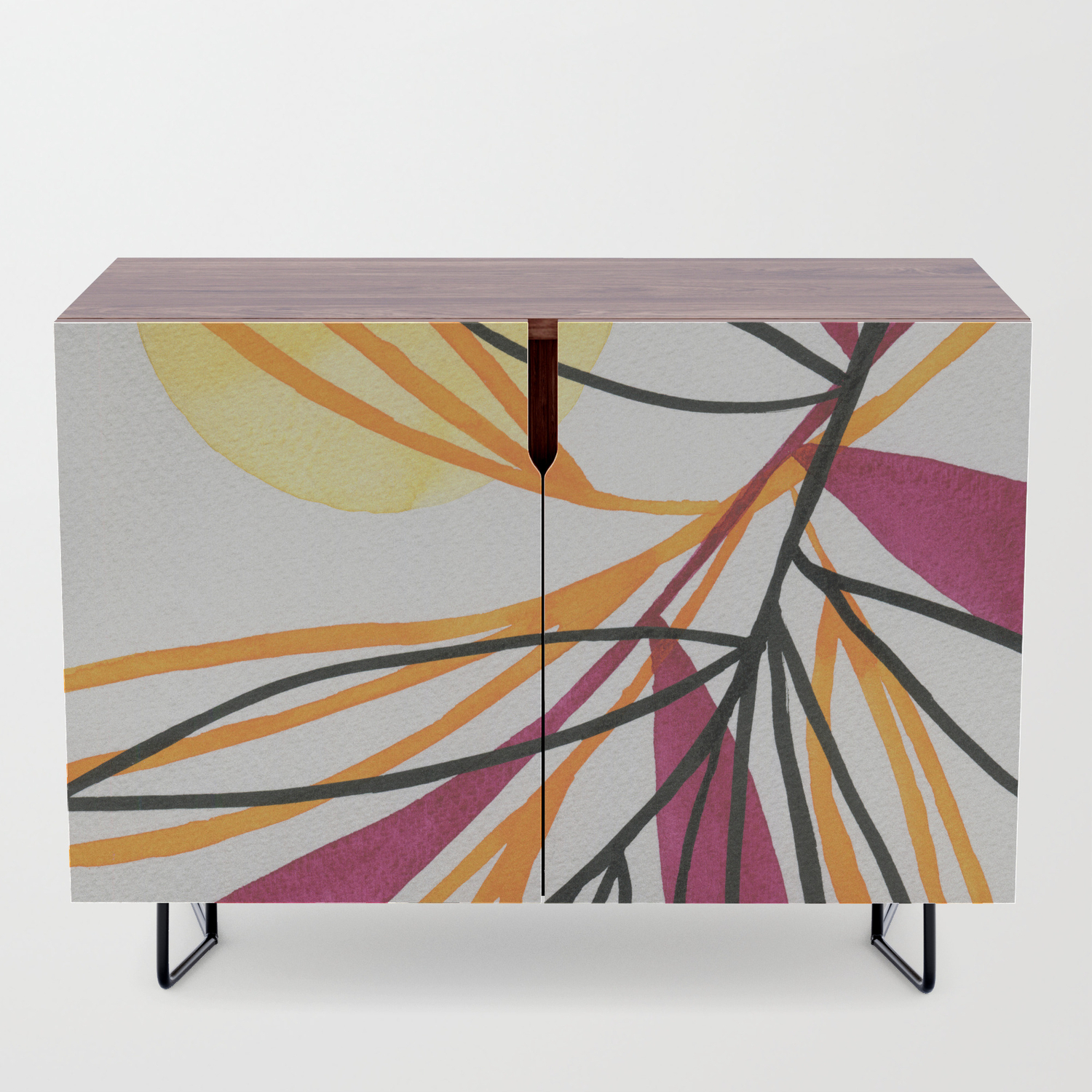 Sun And Leaves Credenza for Colorful Leaves Credenzas (Image 26 of 30)