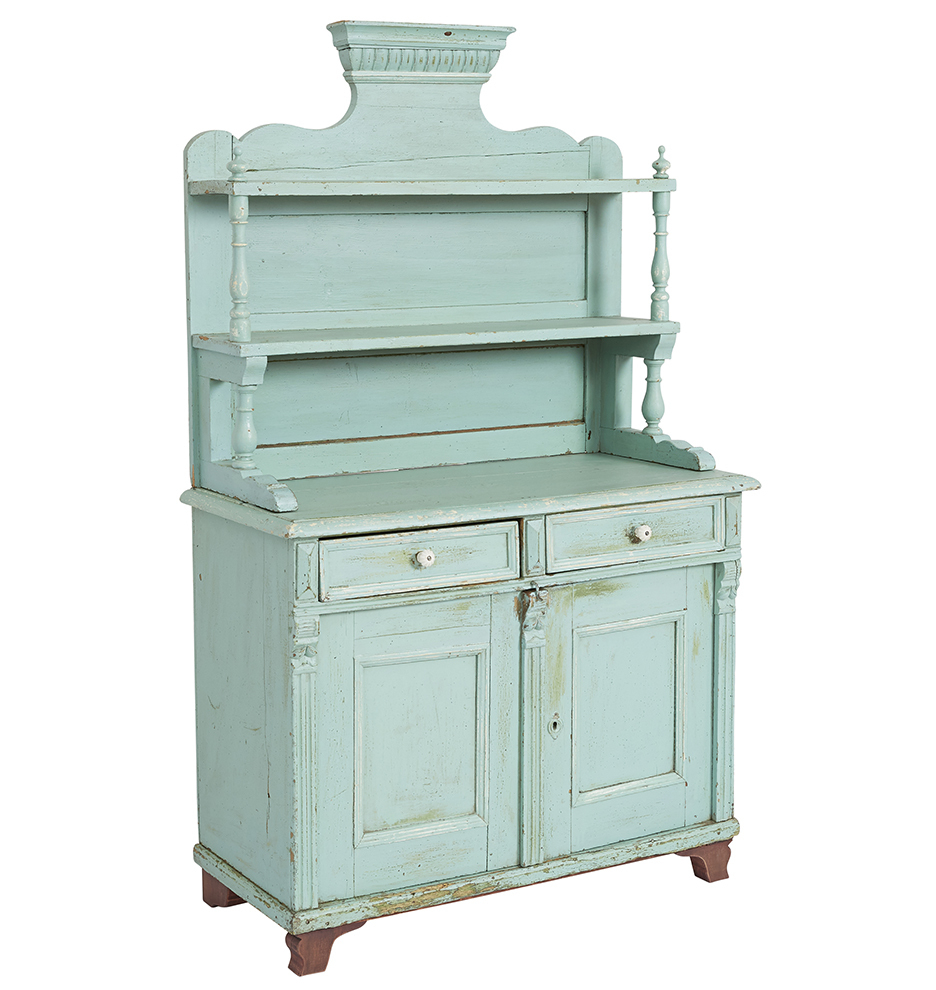 Tall Victorian Sideboard W/ Rustic Turquoise Blue Paint In Turquoise Skies Credenzas (View 21 of 30)