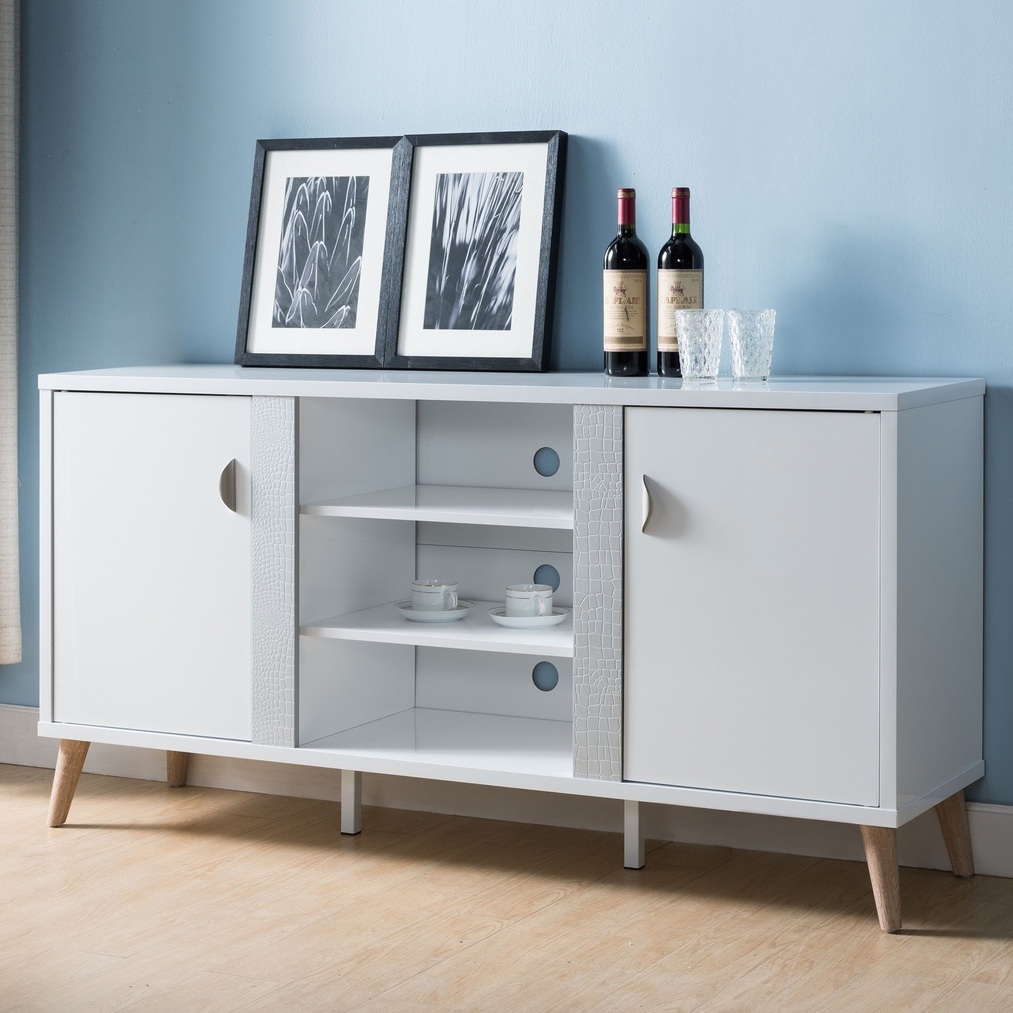 Tempton Mid Century Modern Glossy White Buffetfoa   Home Intended For Contemporary Multi Storage Dining Buffets (View 30 of 30)