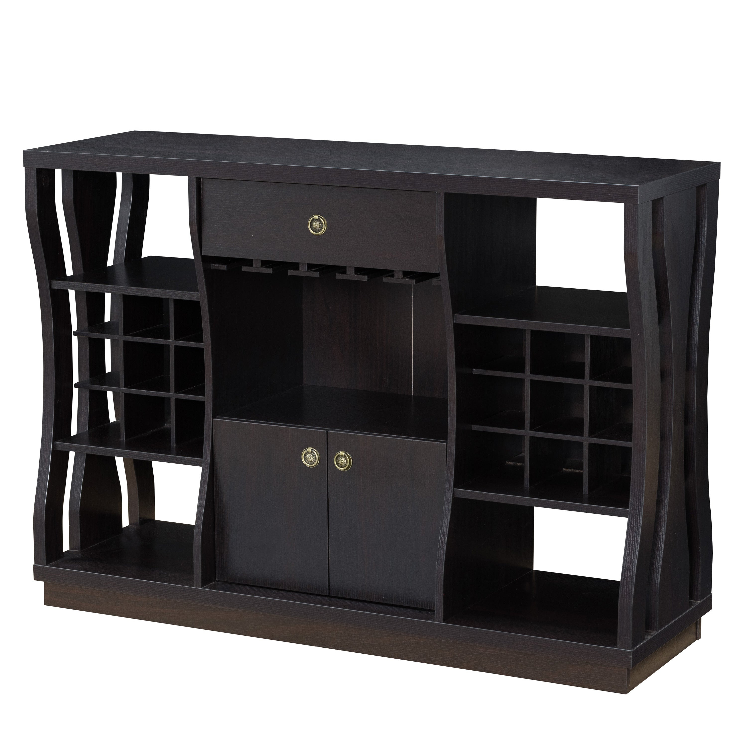 Terrena Modern Cappuccino Open Storage Dining Buffetfoa For Contemporary Cappuccino Dining Buffets (View 28 of 30)