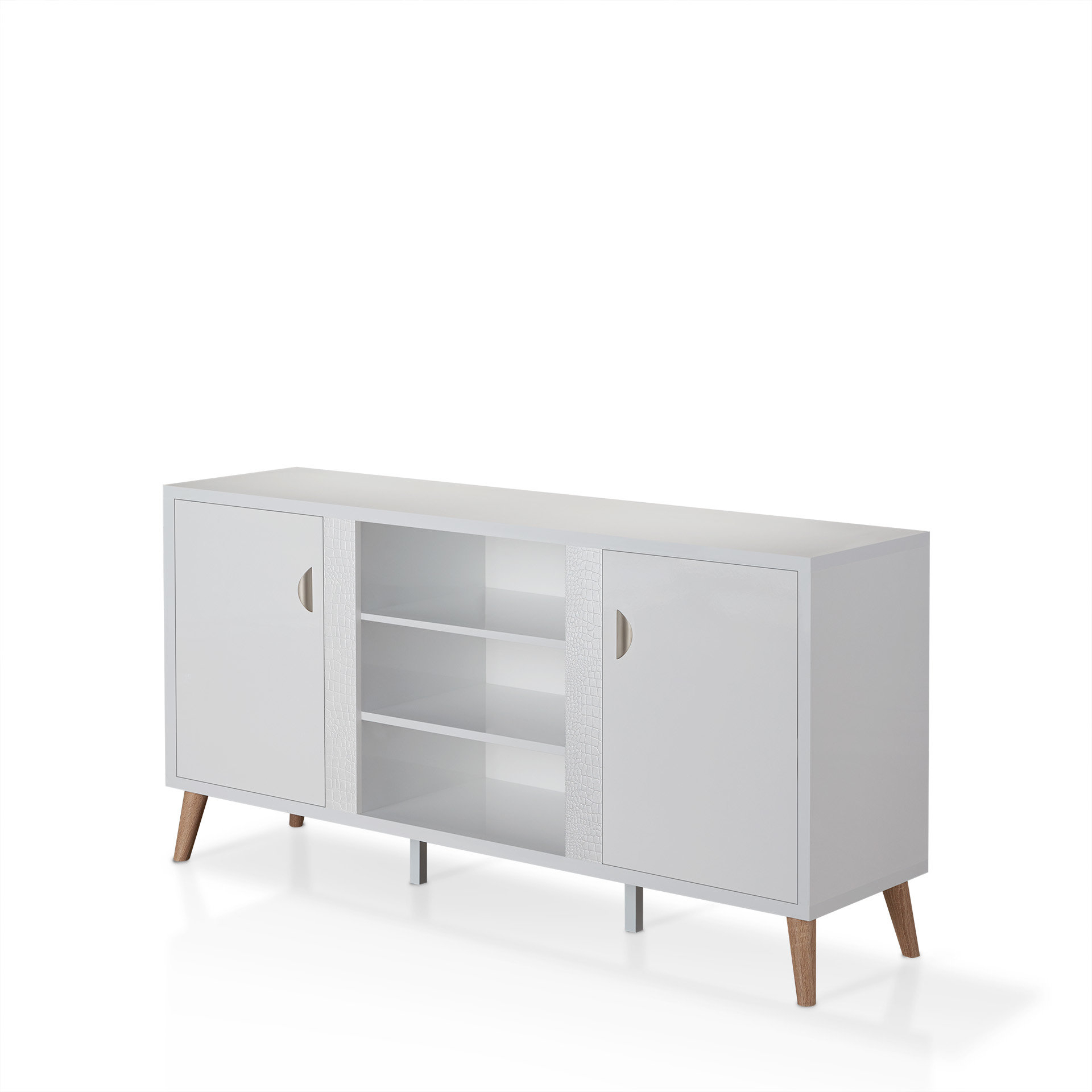 Thaddeus Buffet Table In Contemporary Wooden Buffets With Four Open Compartments And Metal Tapered Legs (View 28 of 30)