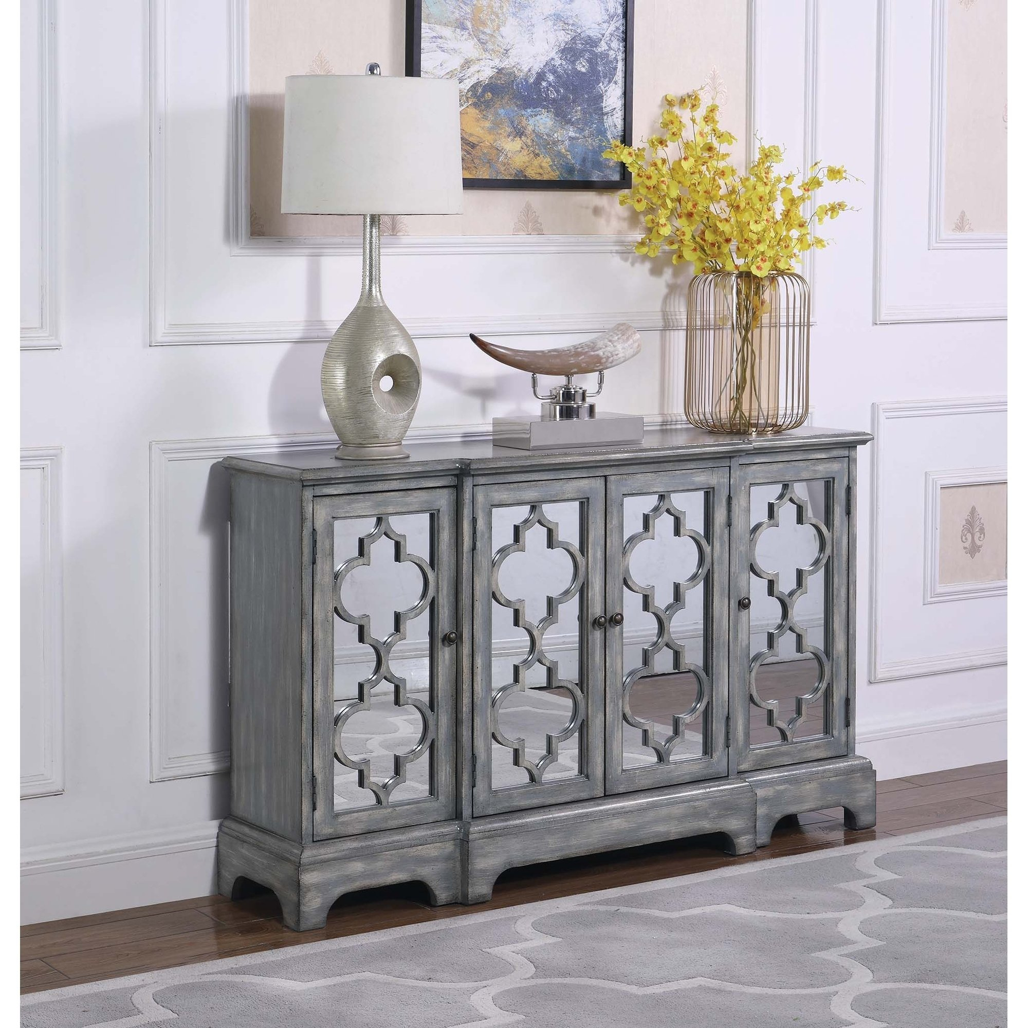 The Gray Barn Grassway Grey 4 Door Accent Cabinet | Products Inside Tiphaine Sideboards (View 17 of 30)