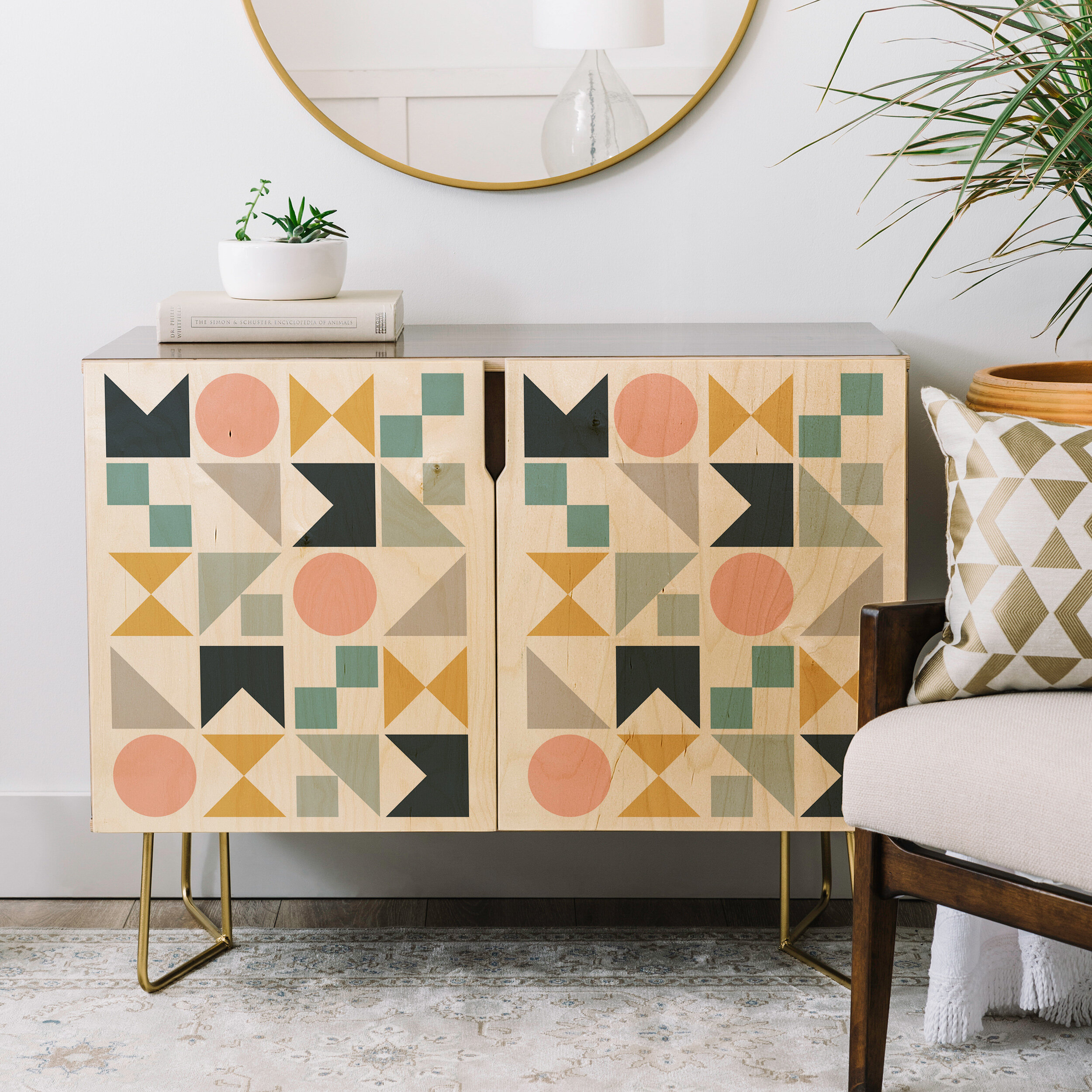 The Old Art Studio Modern Geometric Credenza pertaining to Multi Colored Geometric Shapes Credenzas (Image 29 of 30)