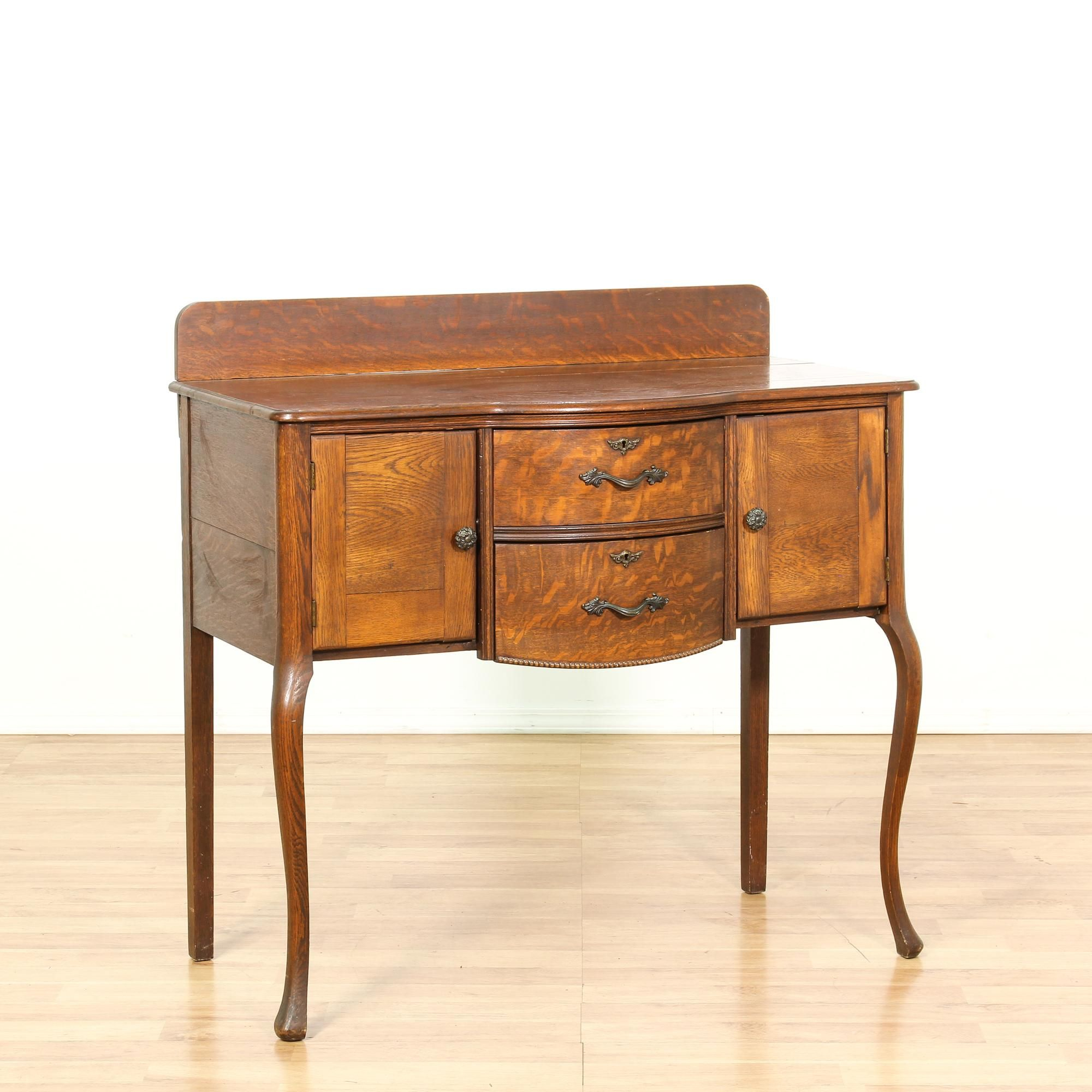 This Antique Sideboard Buffet Is Featured In A Solid Wood Intended For 2 Shelf Buffets With Curved Legs (View 28 of 30)