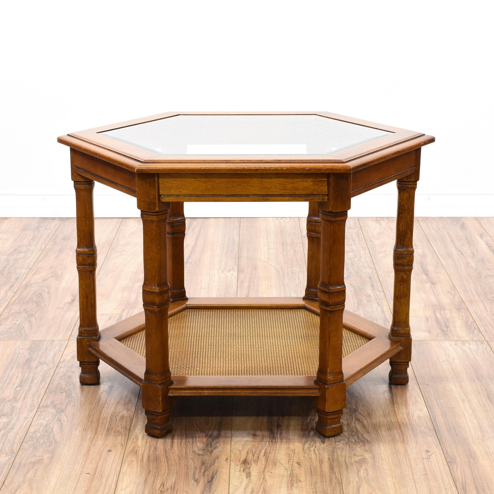 This Hexagon End Table Is Featured In A Solid Wood With A with regard to Solid And Composite Wood Buffets In Cappuccino Finish (Image 21 of 30)
