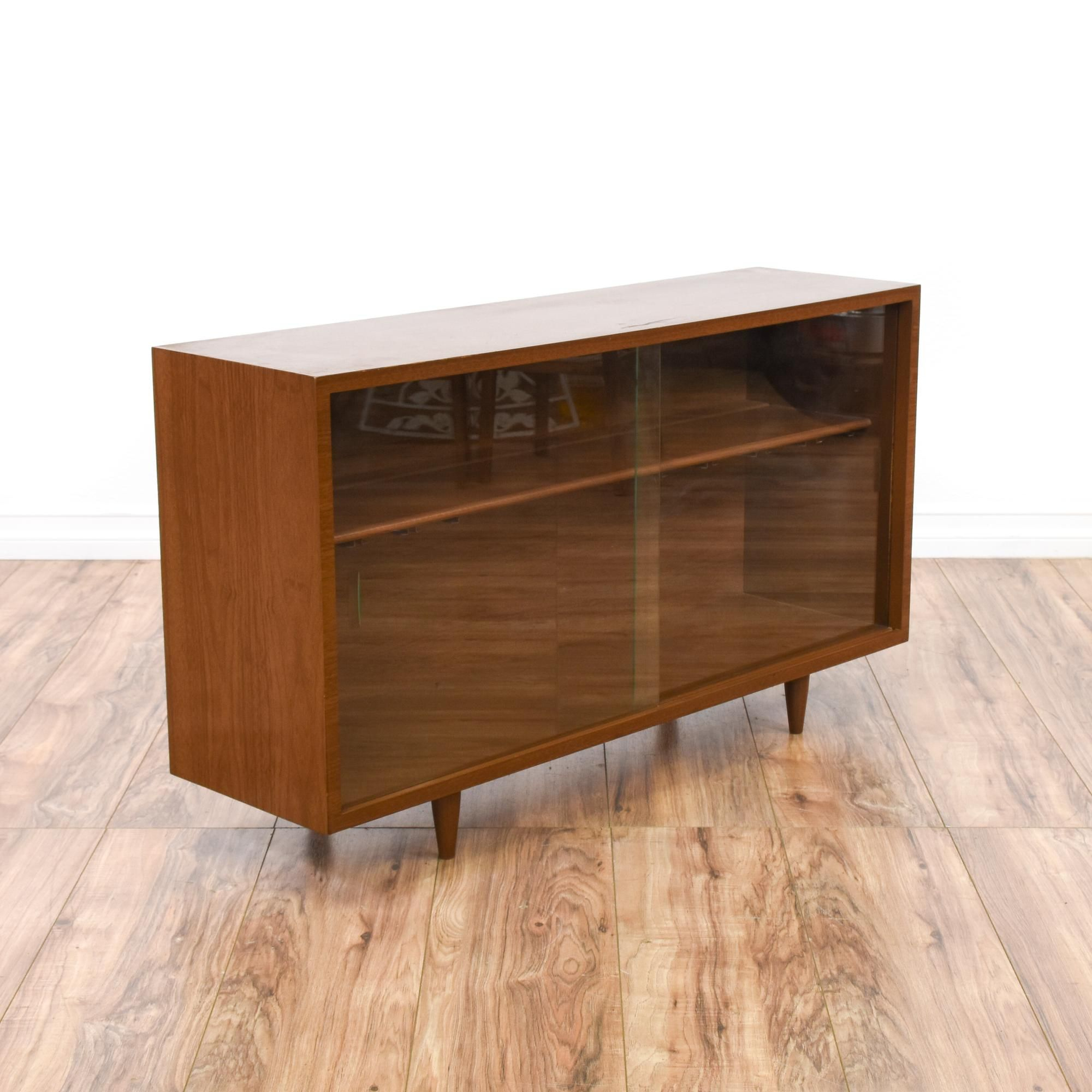 This Low Mid Century Modern Display Case Is Featured In A Throughout Contemporary Wooden Buffets With One Side Door Storage Cabinets And Two Drawers (View 16 of 30)