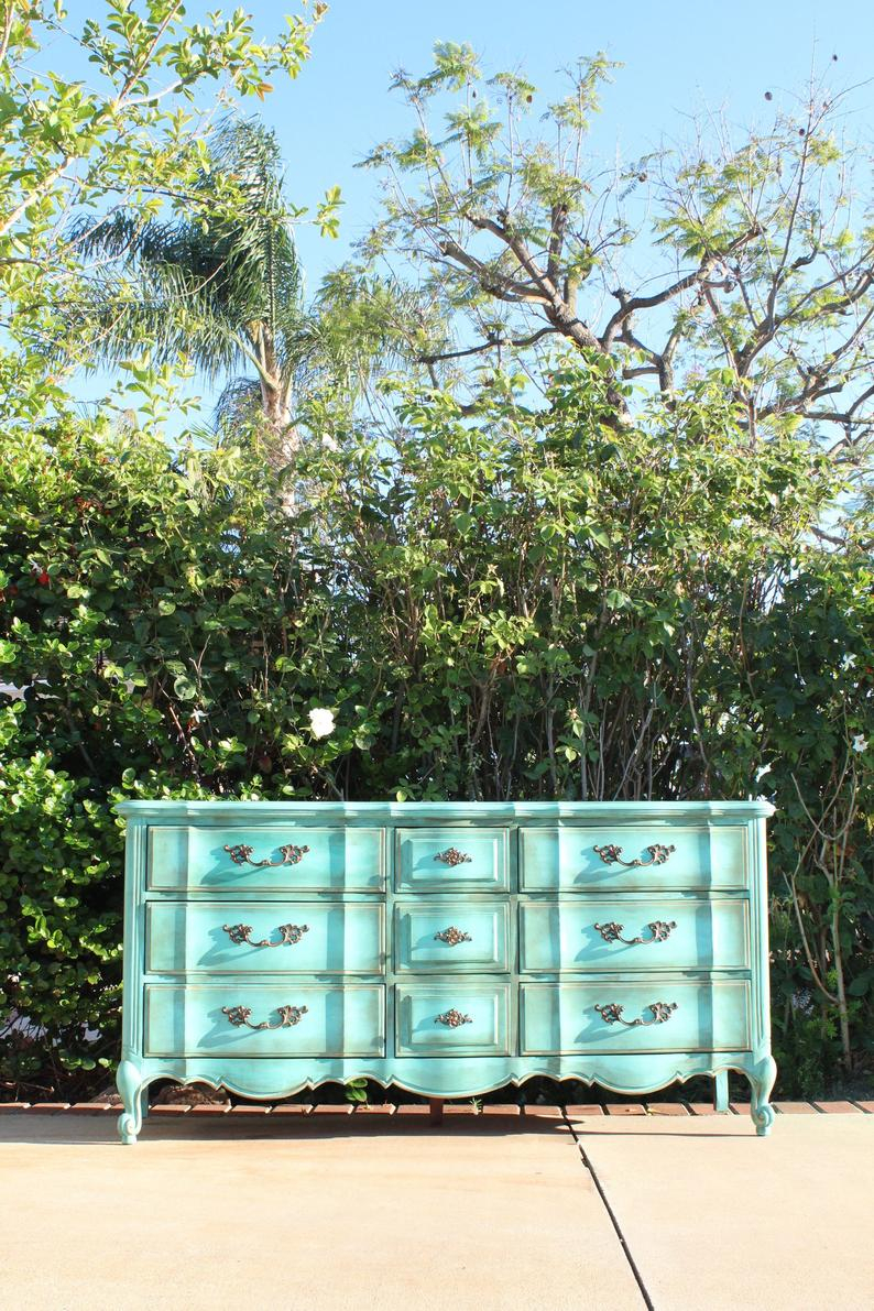 Thomasville French Provincial Vintage Dresser / Credenza – Turquoise Aqua Green Newly Painted Shabby Chic Boho Cottage In Turquoise Skies Credenzas (View 22 of 30)