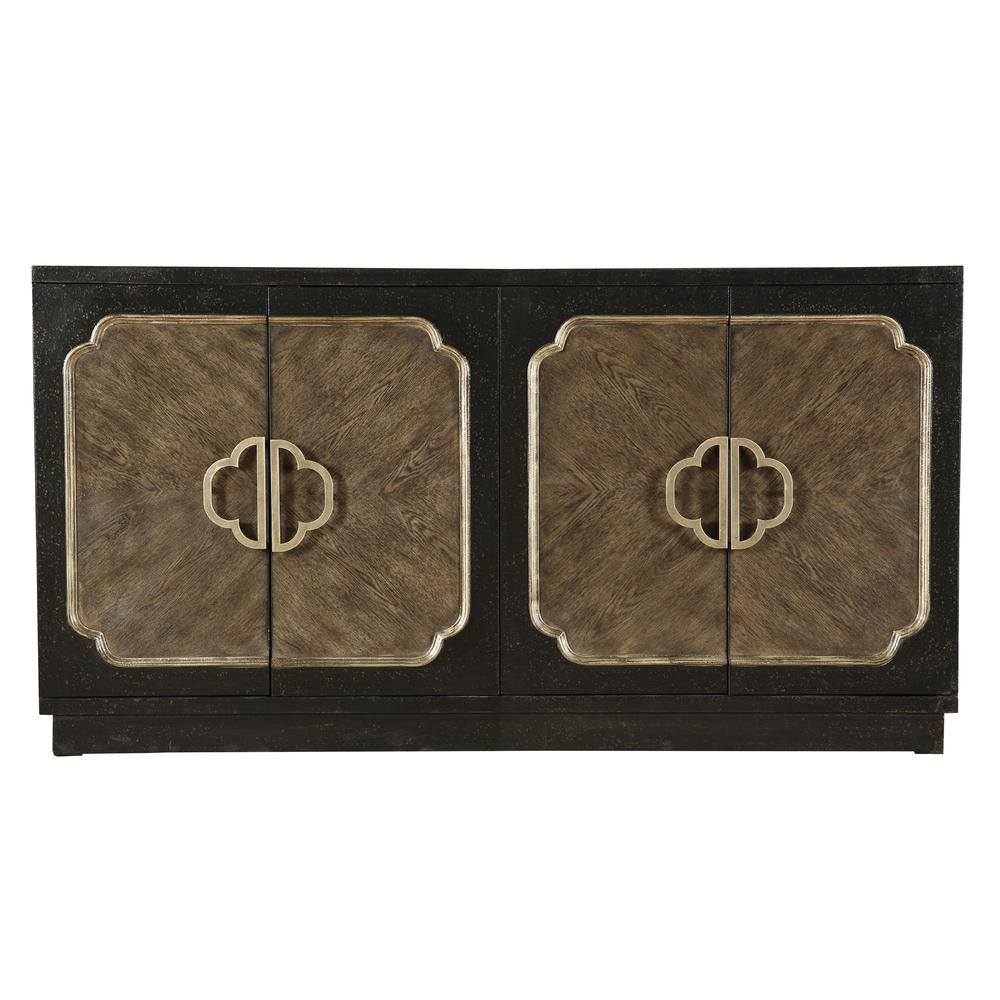 Traditional Distressed Chocolate Finish Four Door Credenza With Copper Leaf Wood Credenzas (View 28 of 30)