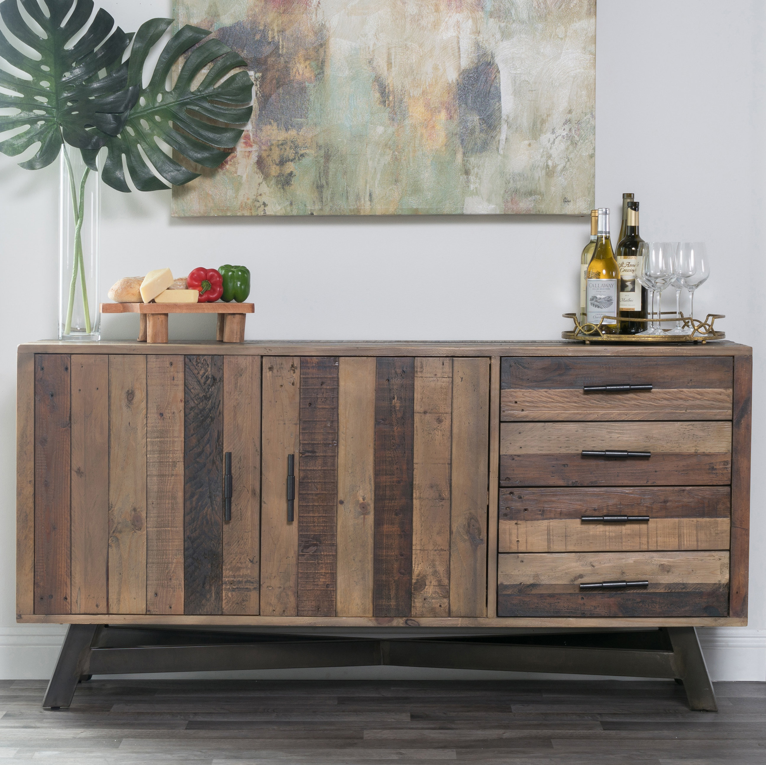 Transitional Sideboard | Wayfair Inside Contemporary Wooden Buffets With Four Open Compartments And Metal Tapered Legs (View 29 of 30)